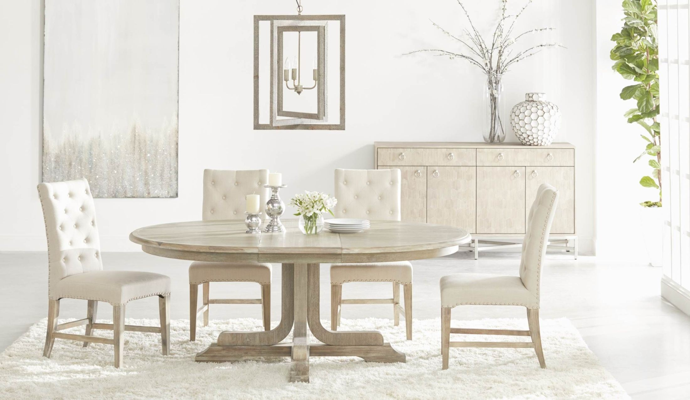"""Torrey Natural Gray 60"""" Extendable Round Dining Table ..."""