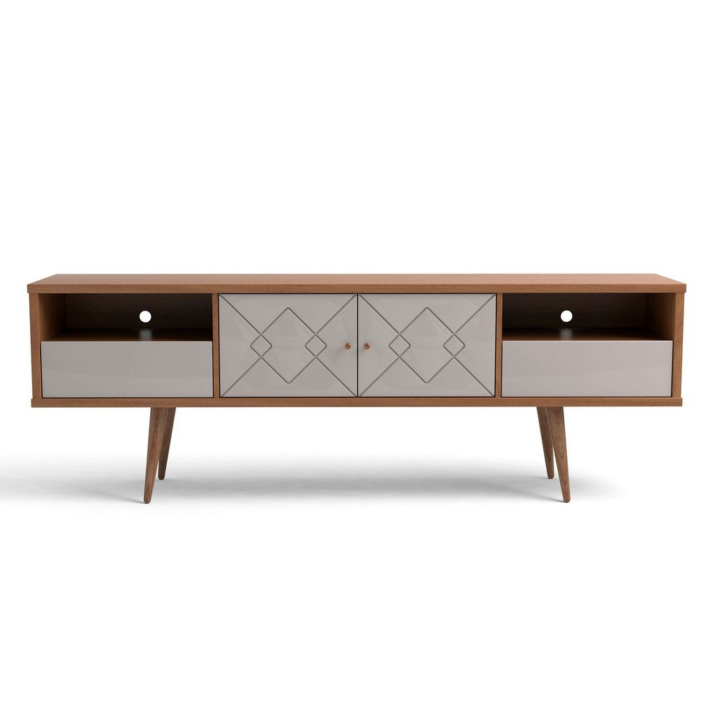 Trinity 70 86 Inch Mid Century Modern Tv Stand With Solid Wood Legs In Off White And Maple Cream 1stopbedrooms