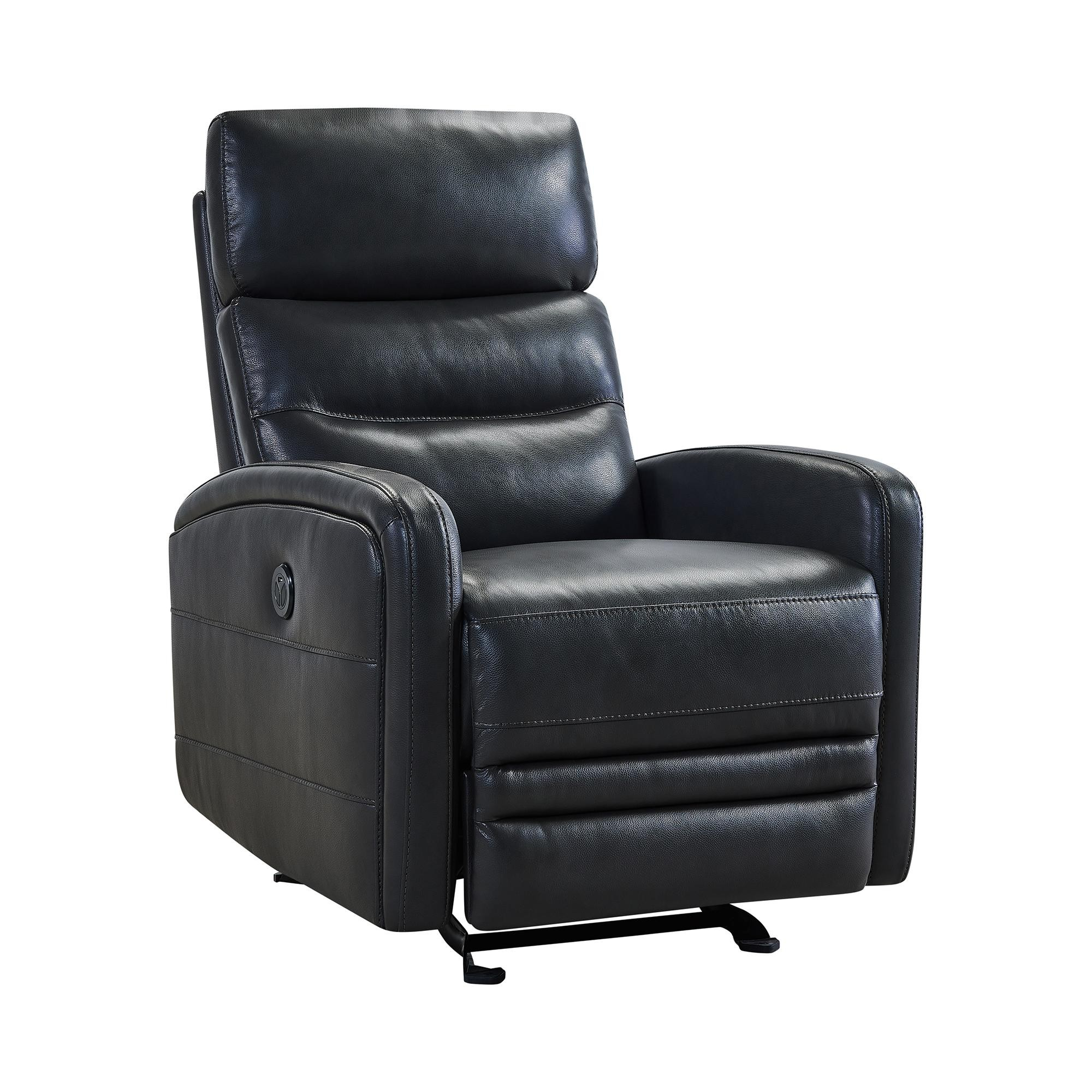 Tristan Pewter Genuine Leather Power Reclining Chair 1stopbedrooms