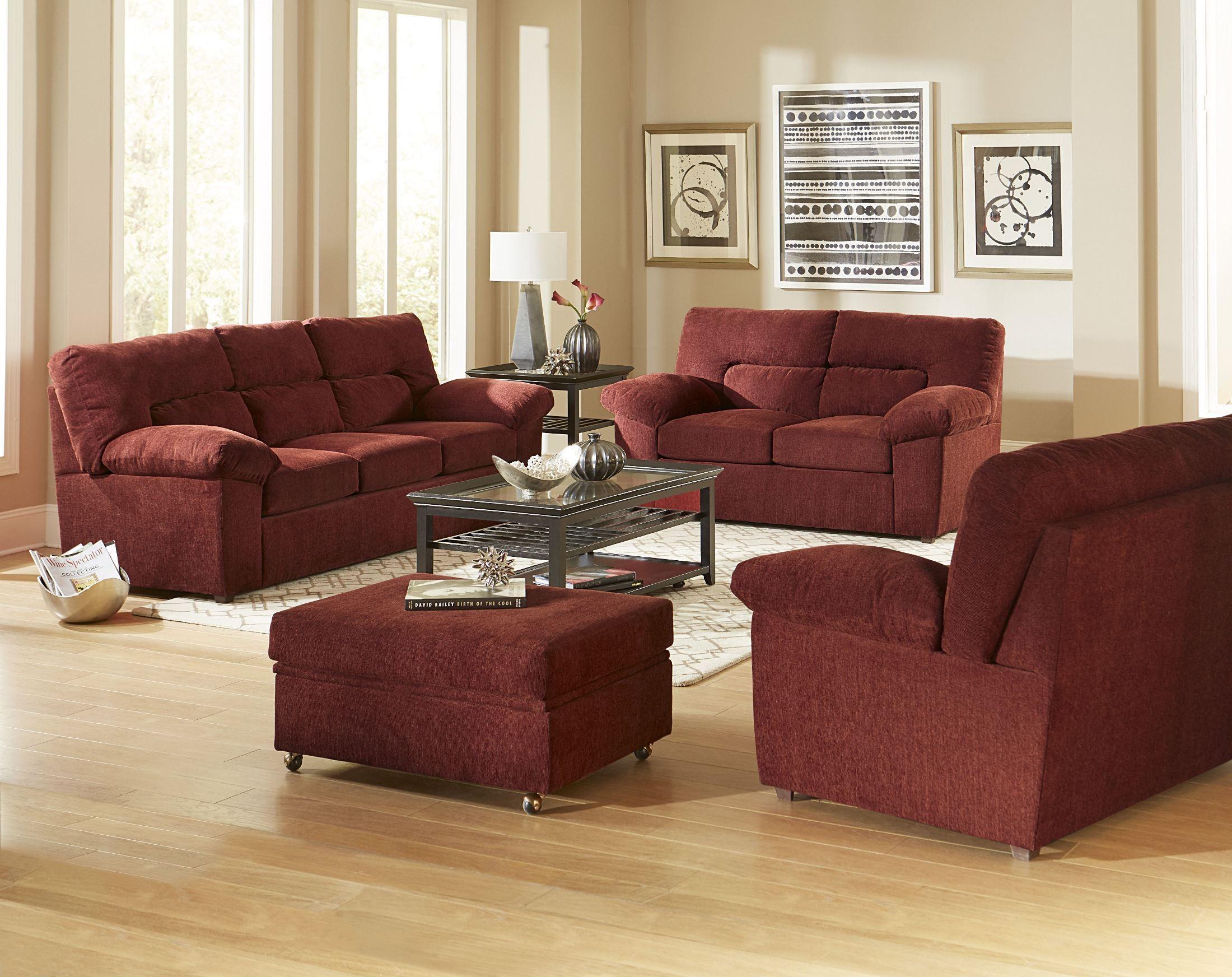 Duke Red Chenille Sofa