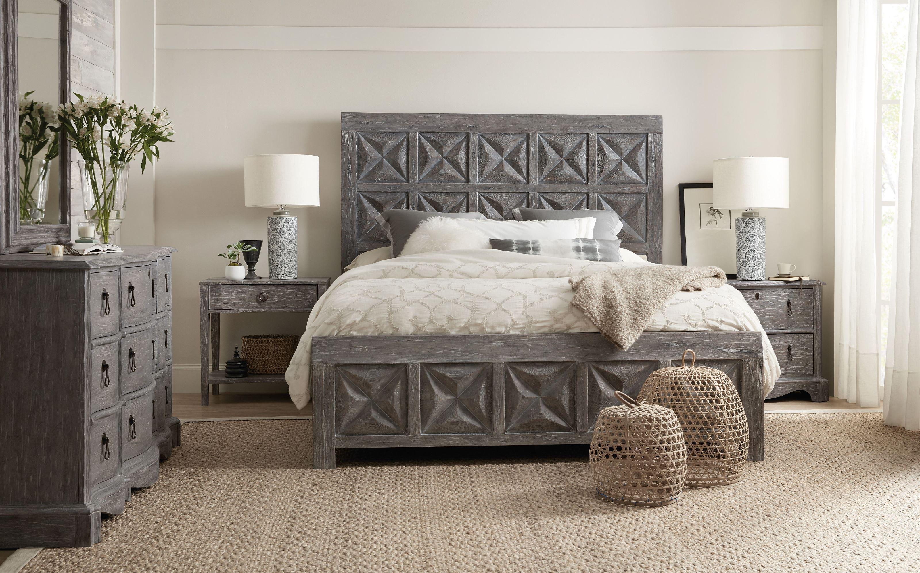 Beaumont Dark Wood Panel Bedroom Set