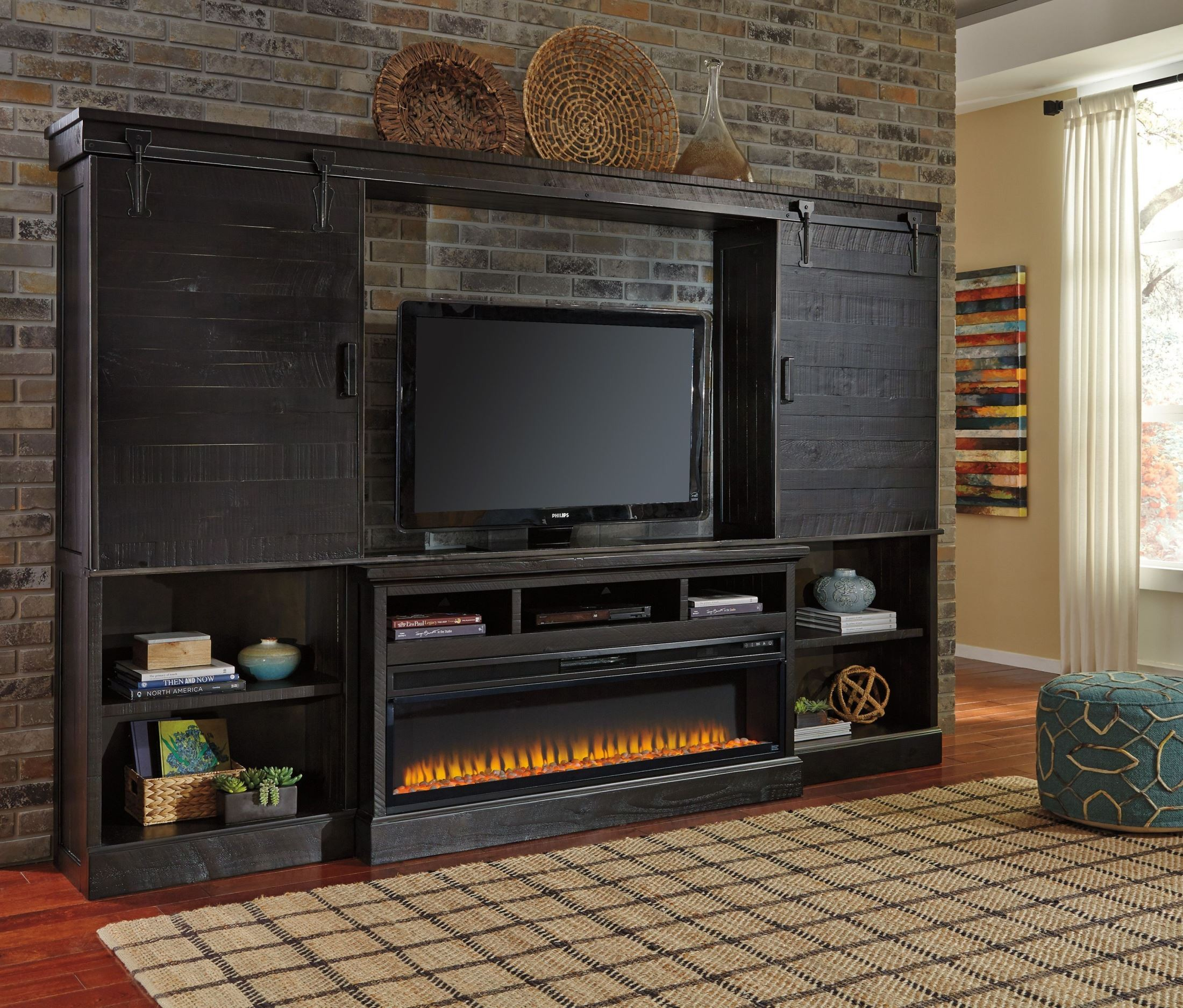 Sharlowe Entertainment Center With Wide Fireplace Insert ...