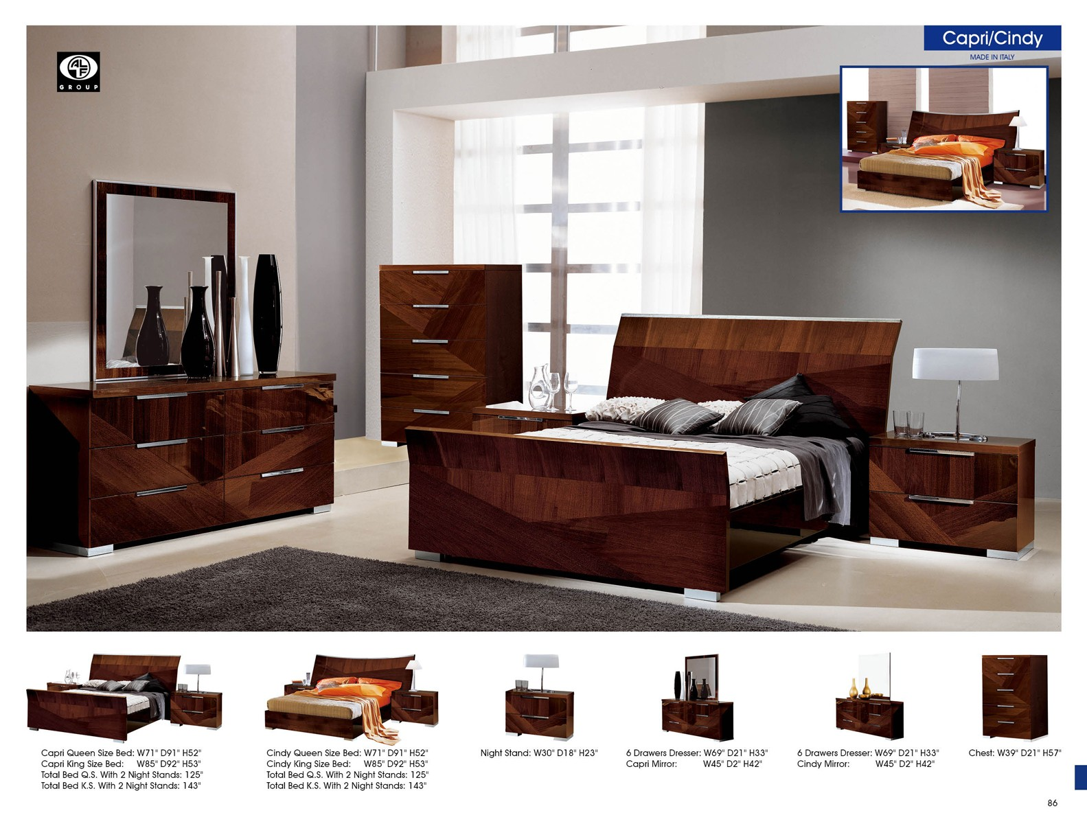 Esf furniture capri sleigh bedroom set in walnut media gallery