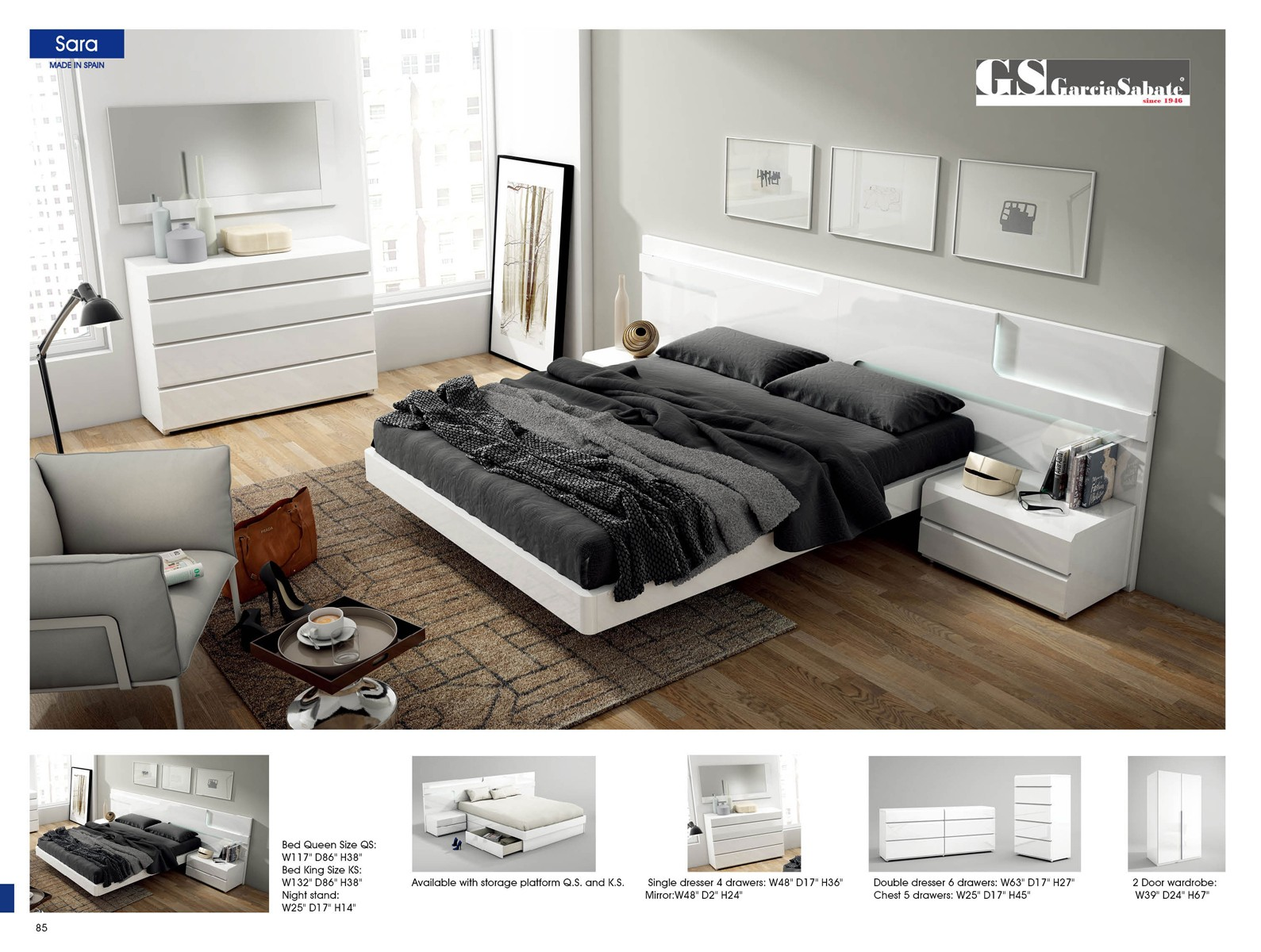 ESF ESF Furniture Sara Platform Bedroom Set in White   Sara