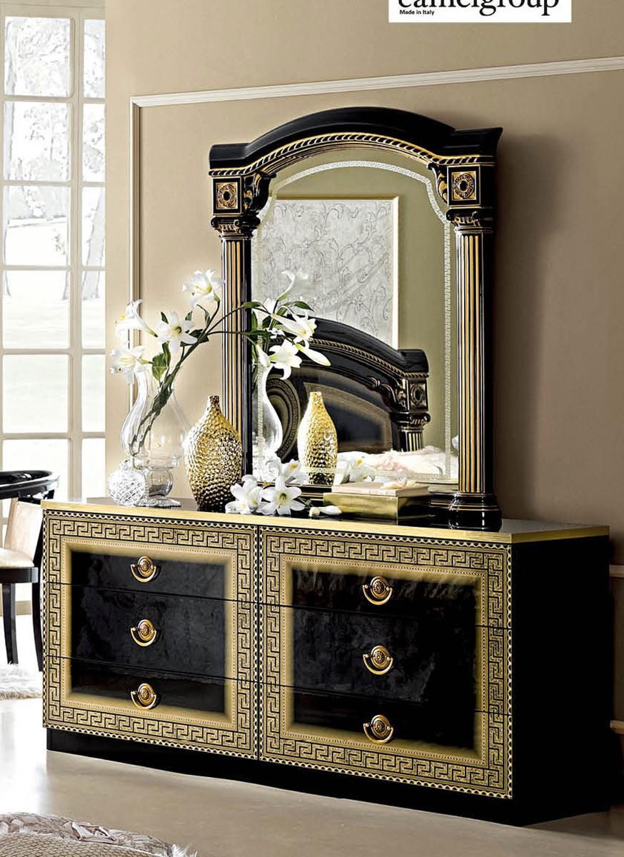 Esf Esf Furniture Aida Panel Bedroom Set In Black W Gold