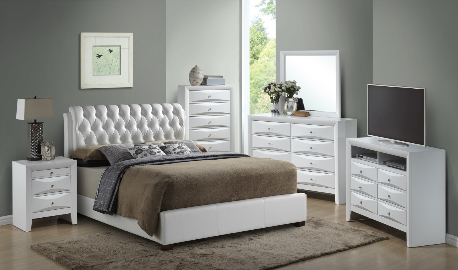 Glory Furniture G1570 King Button-Tufted Bed in White G1570C-KB-UP