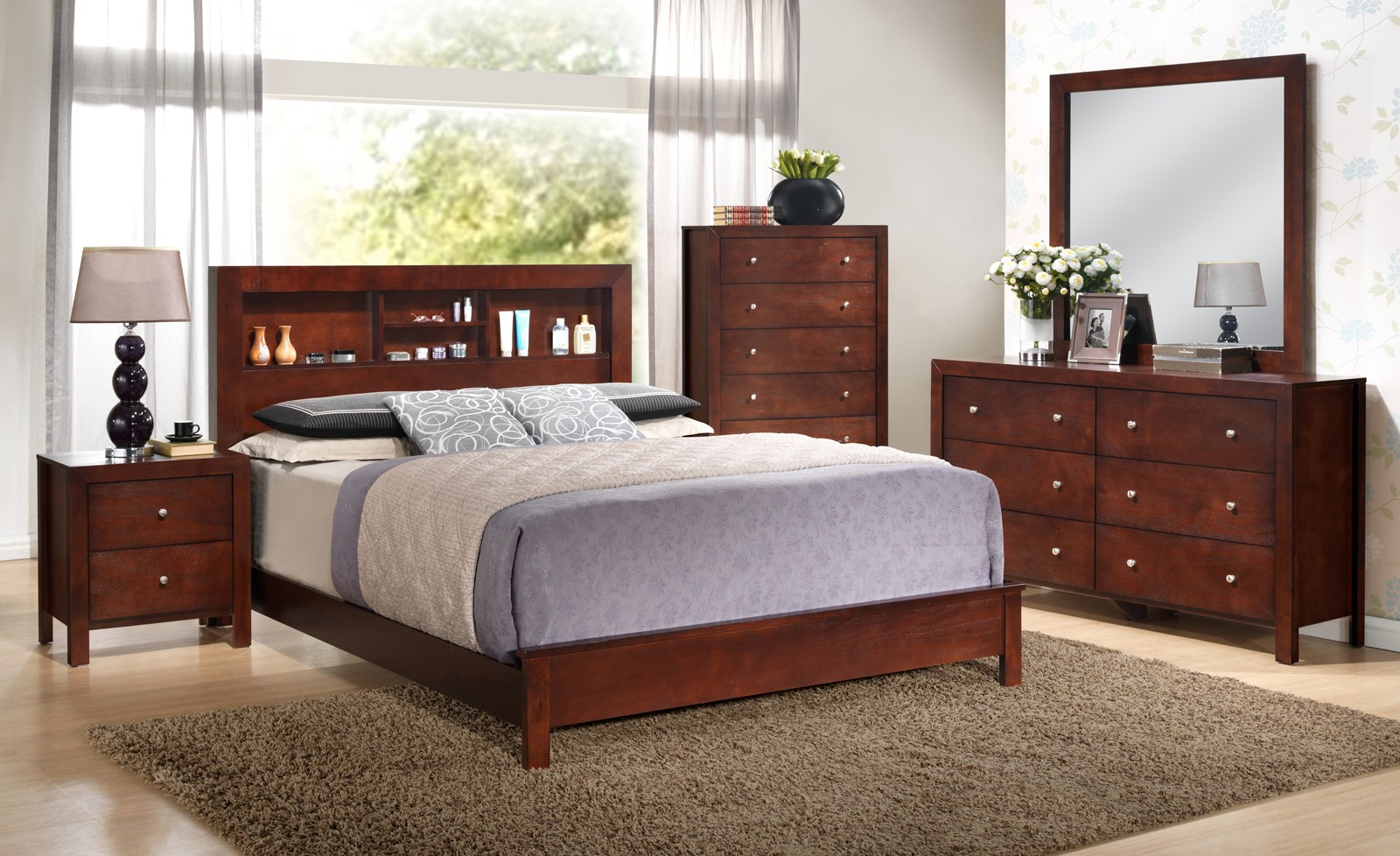 Glory Glory Furniture G2400 Queen Bookcase Headboard Bed In Cherry