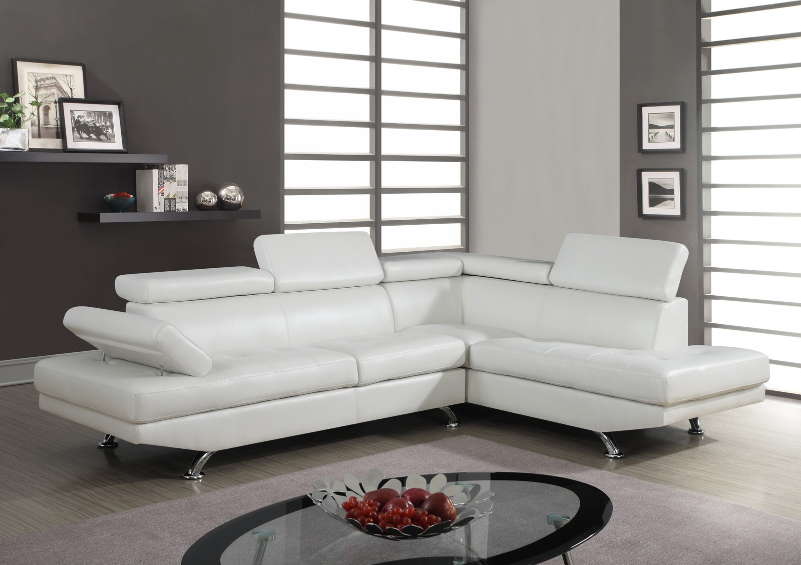 Global Furniture U9782 2 Piece Sectional In White Media Gallery