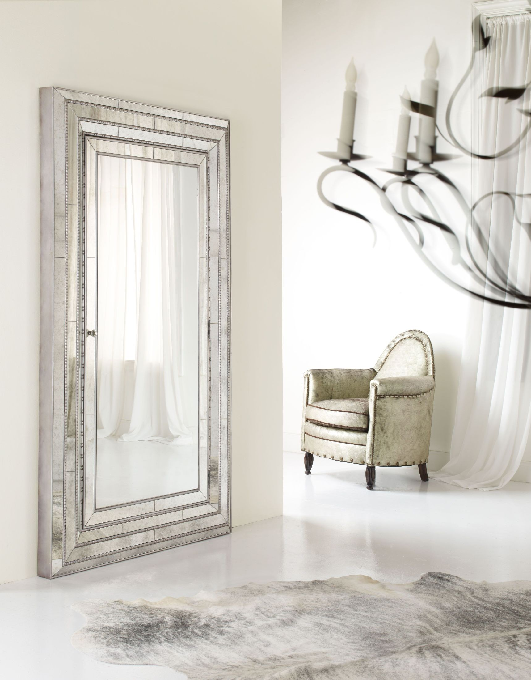 Melange Gold Glamour Floor Mirror With Jewelry Storage 1stopbedrooms