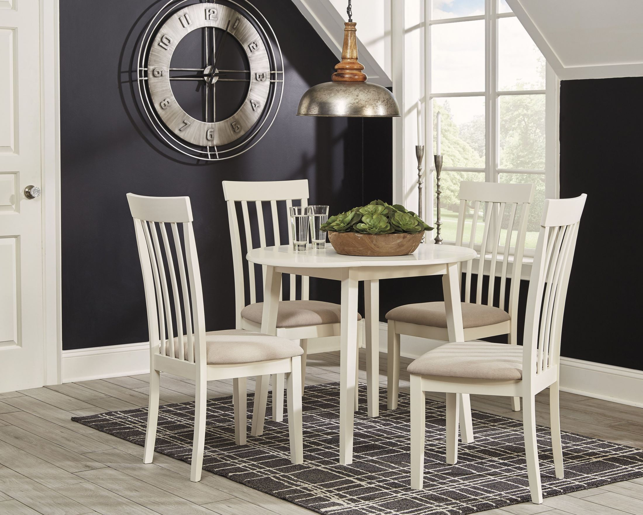 Slannery White Round Drop Leaf Dining Room Set