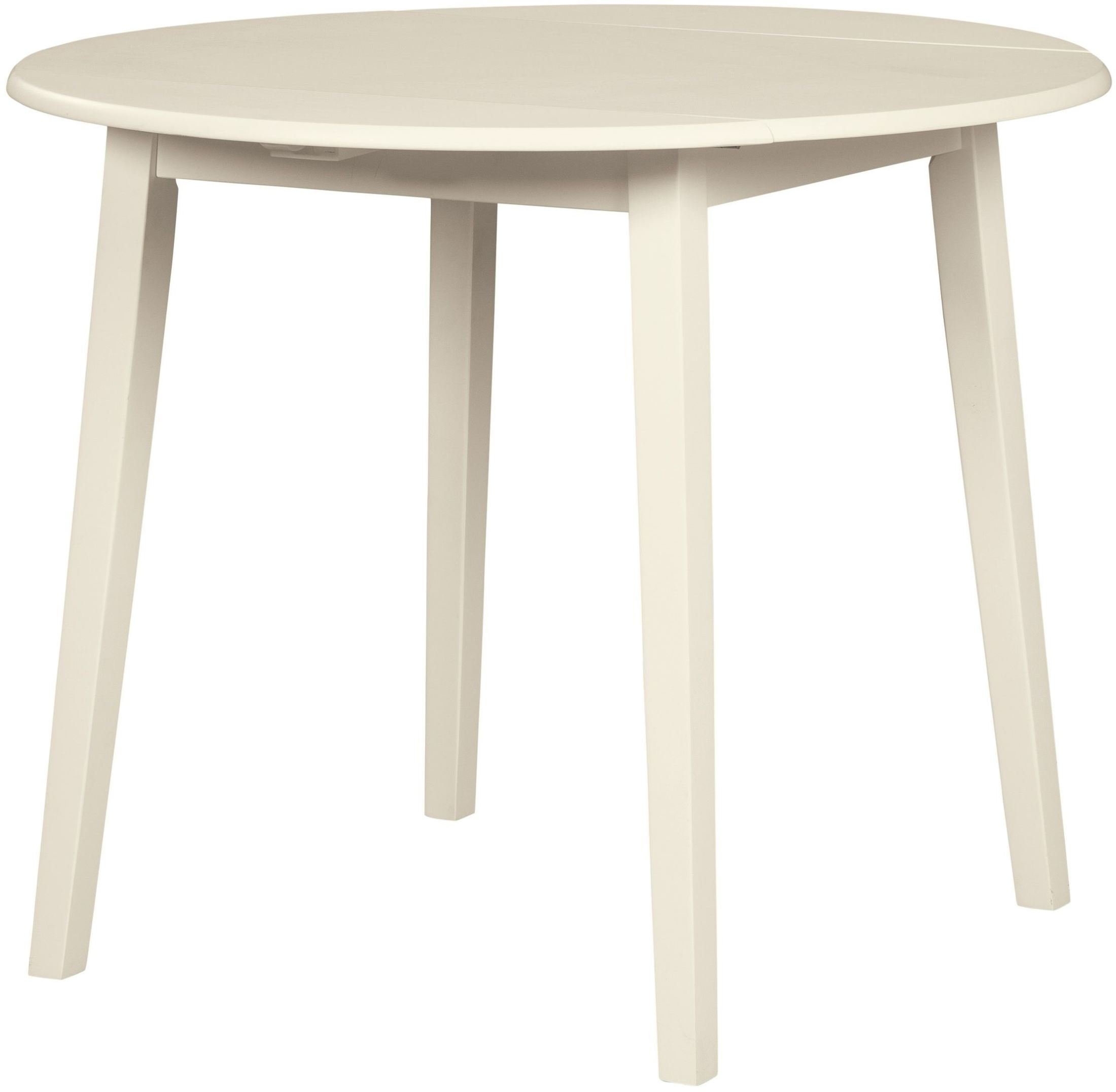 Slannery White Round Drop Leaf Dining Table 1stopbedrooms