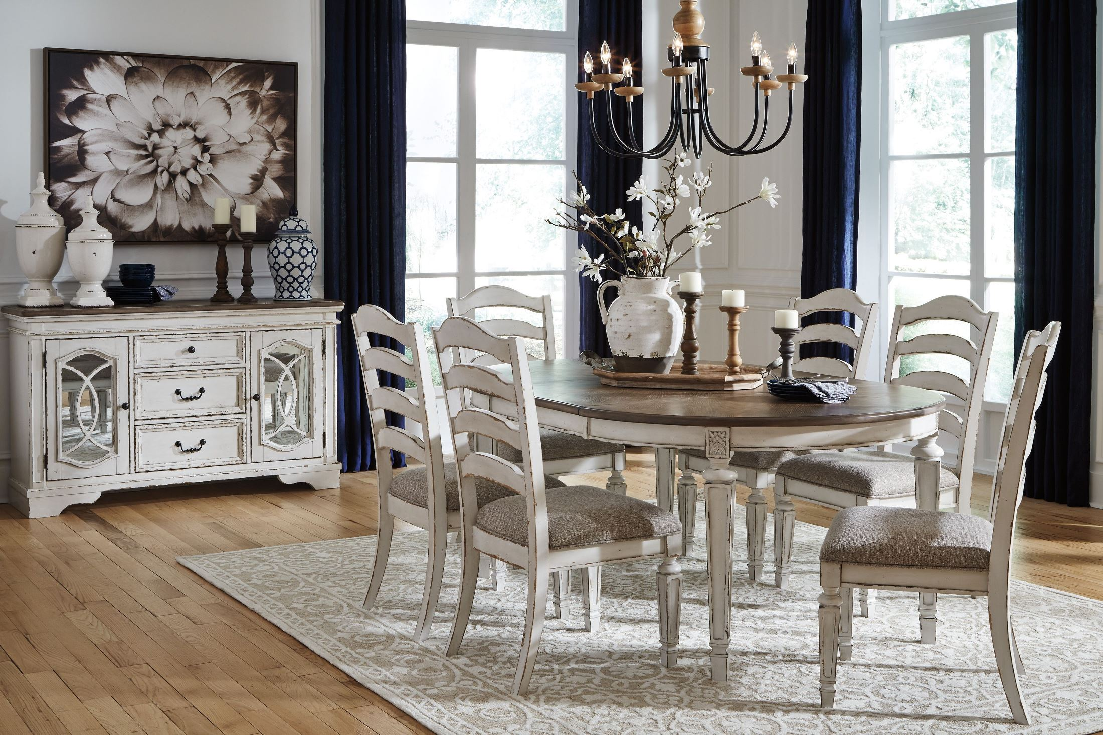 Signature Design By Ashley Realyn White Oval Extendable