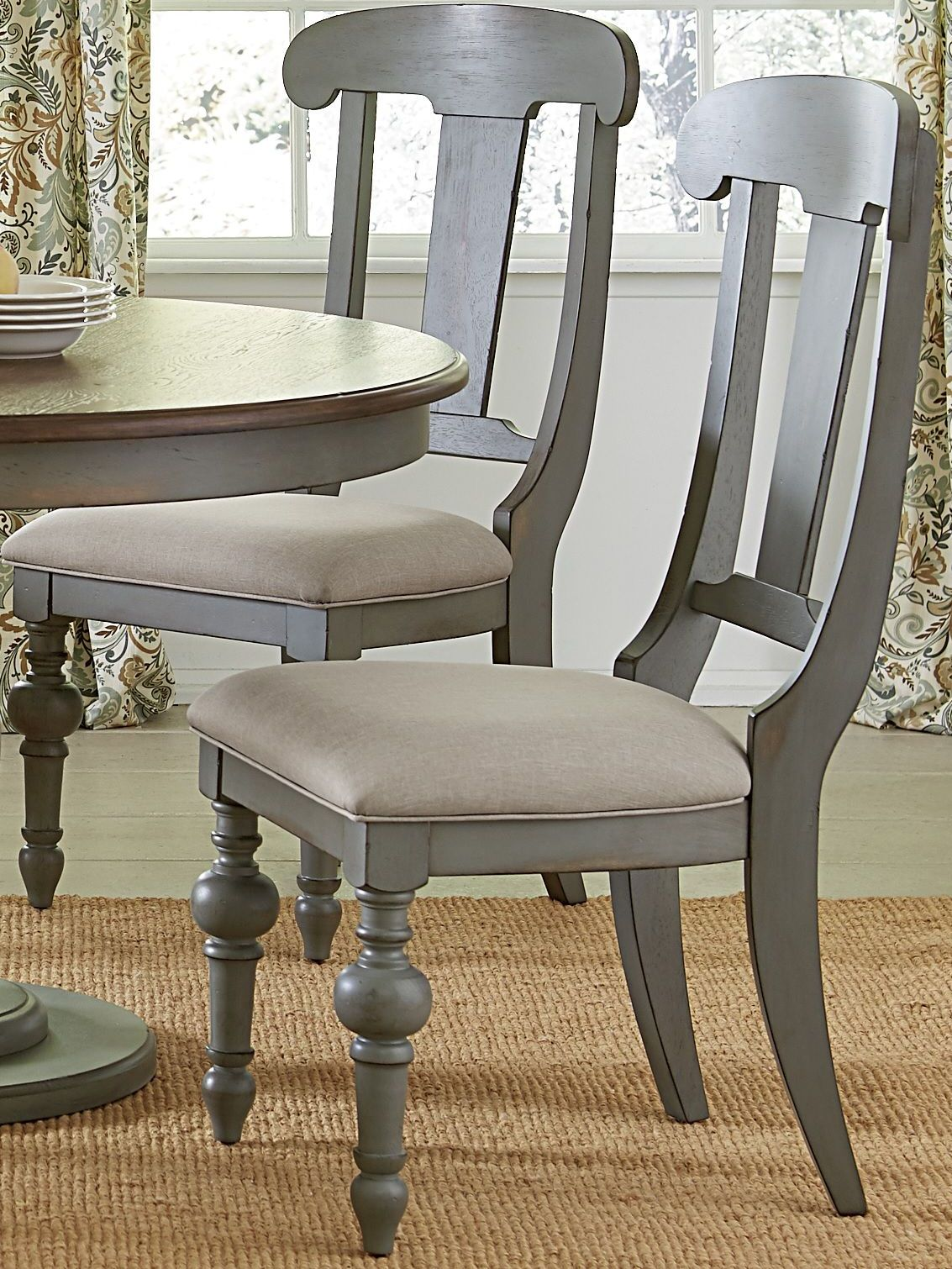 Wondrous Colonnades Putty And Oak Upholstered Dining Chair Set Of 2 Creativecarmelina Interior Chair Design Creativecarmelinacom