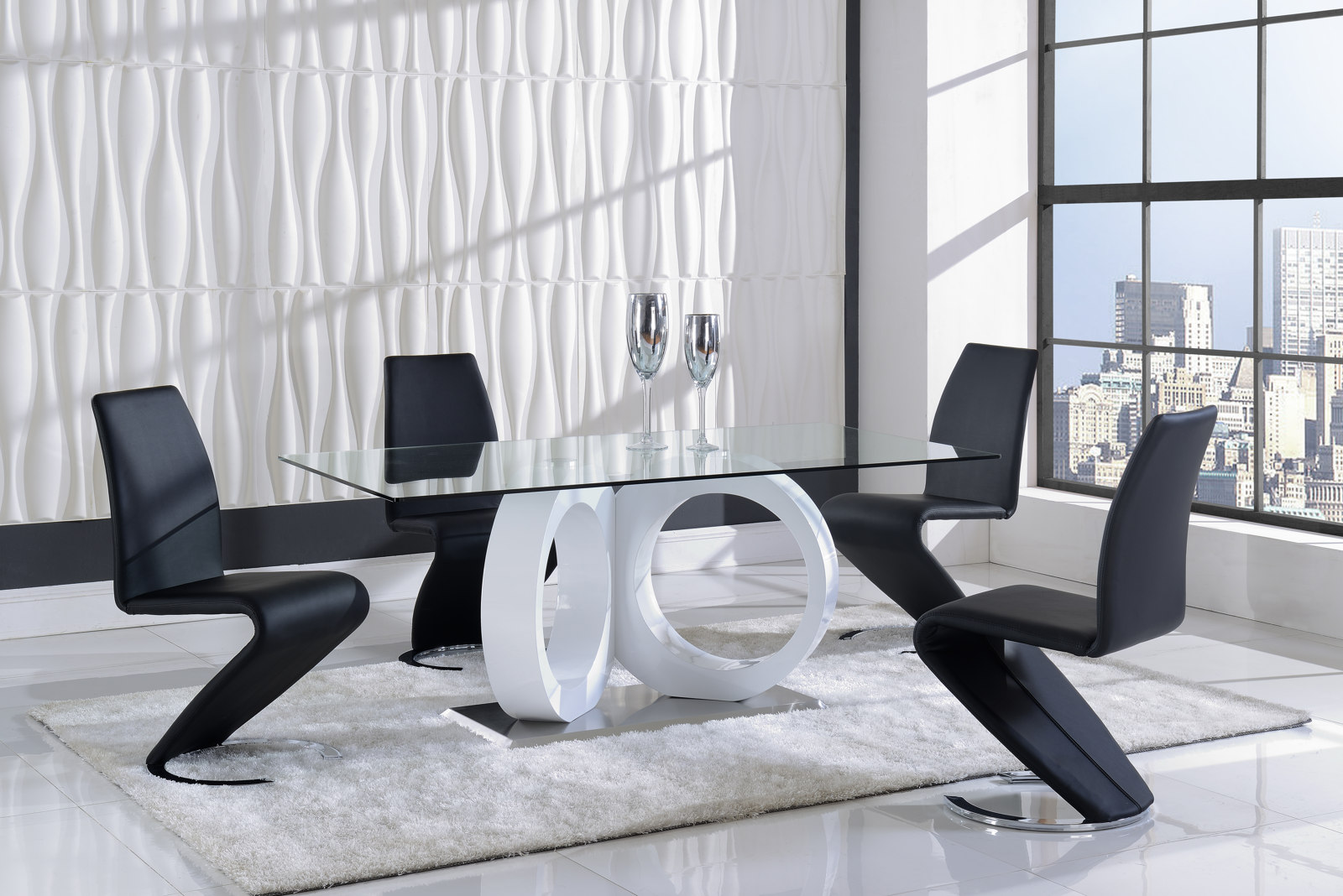 Global Furniture D9002 7 Piece Dining Room Set In White Black