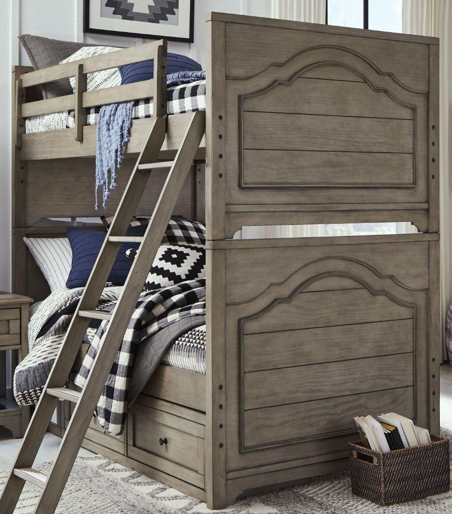 Picture of: Farm House Old Crate Brown Twin Over Twin Bunk Bed With Dual Side Storage 1stopbedrooms