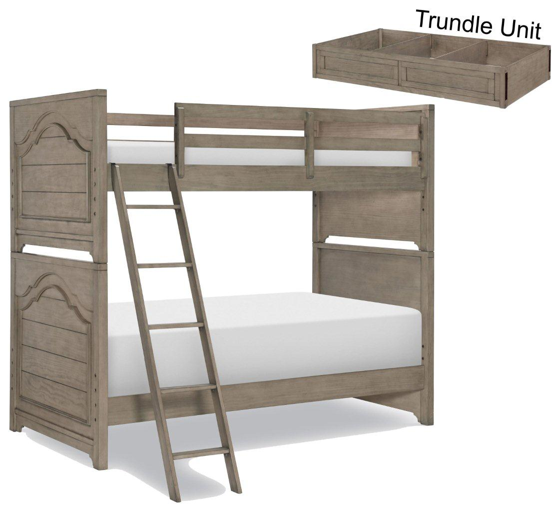 Picture of: Farm House Old Crate Brown Twin Over Twin Bunk Bed With Trundle 1stopbedrooms