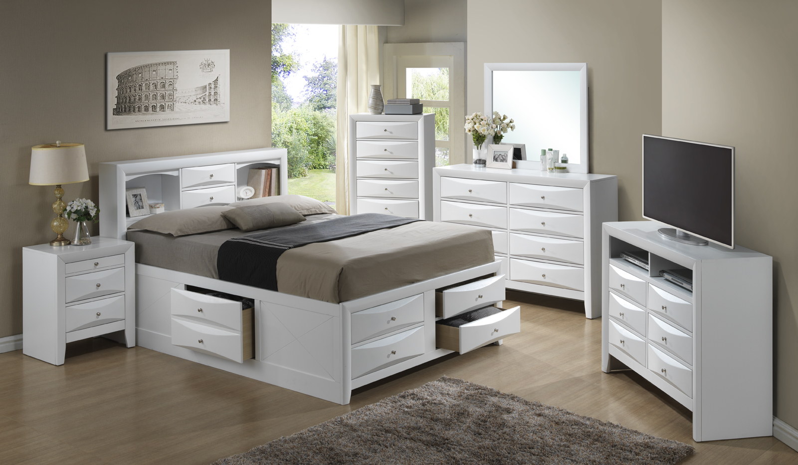 Glory Furniture G1570 Storage Bedroom Set In White