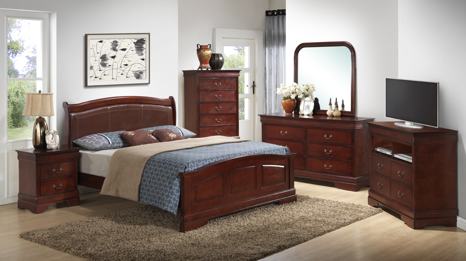 Glory Furniture G3100 Low Profile With Pu Bedroom Set In