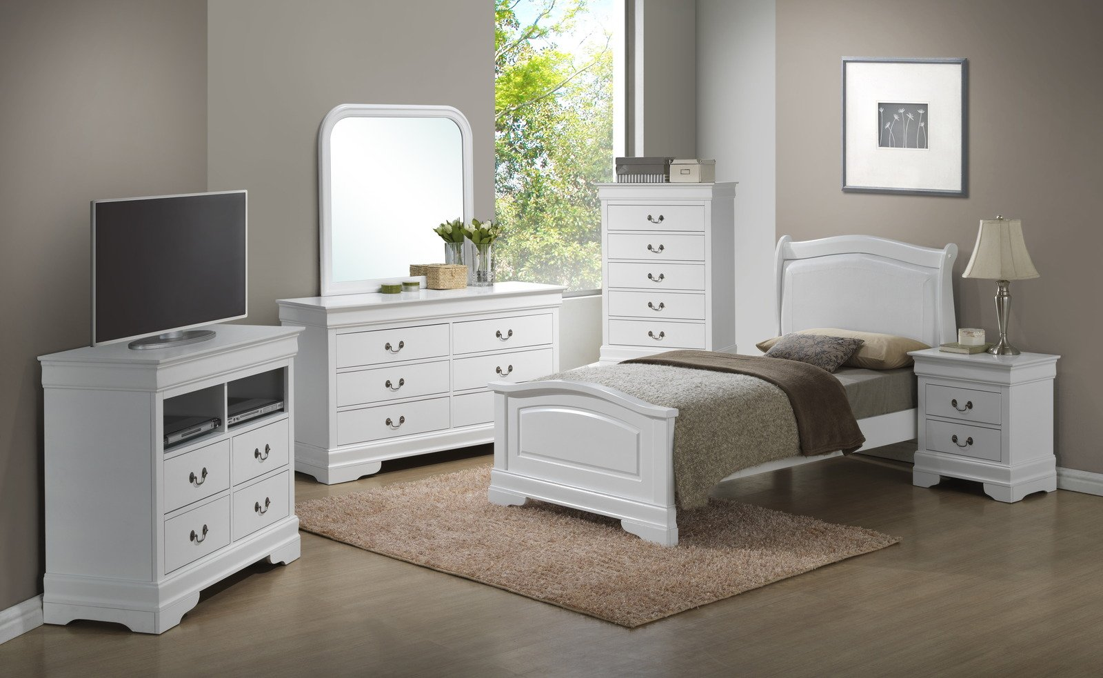 Glory Furniture G3190 Low Profile Bedroom Set w/ PU Insert ...