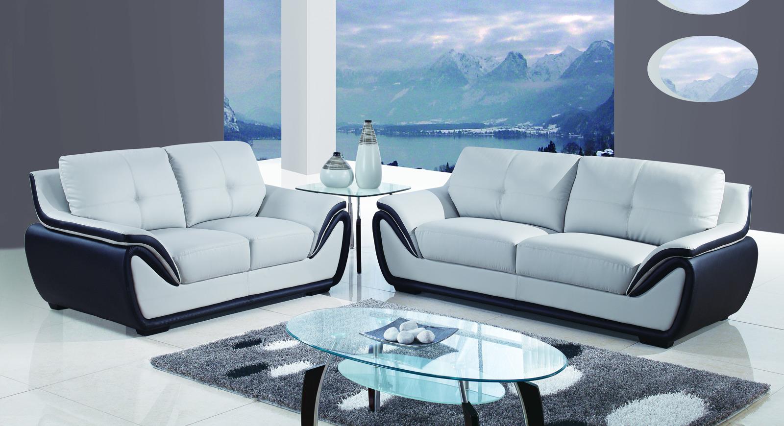Global Furniture U3250 2 Piece Living Room Set In Grey Black