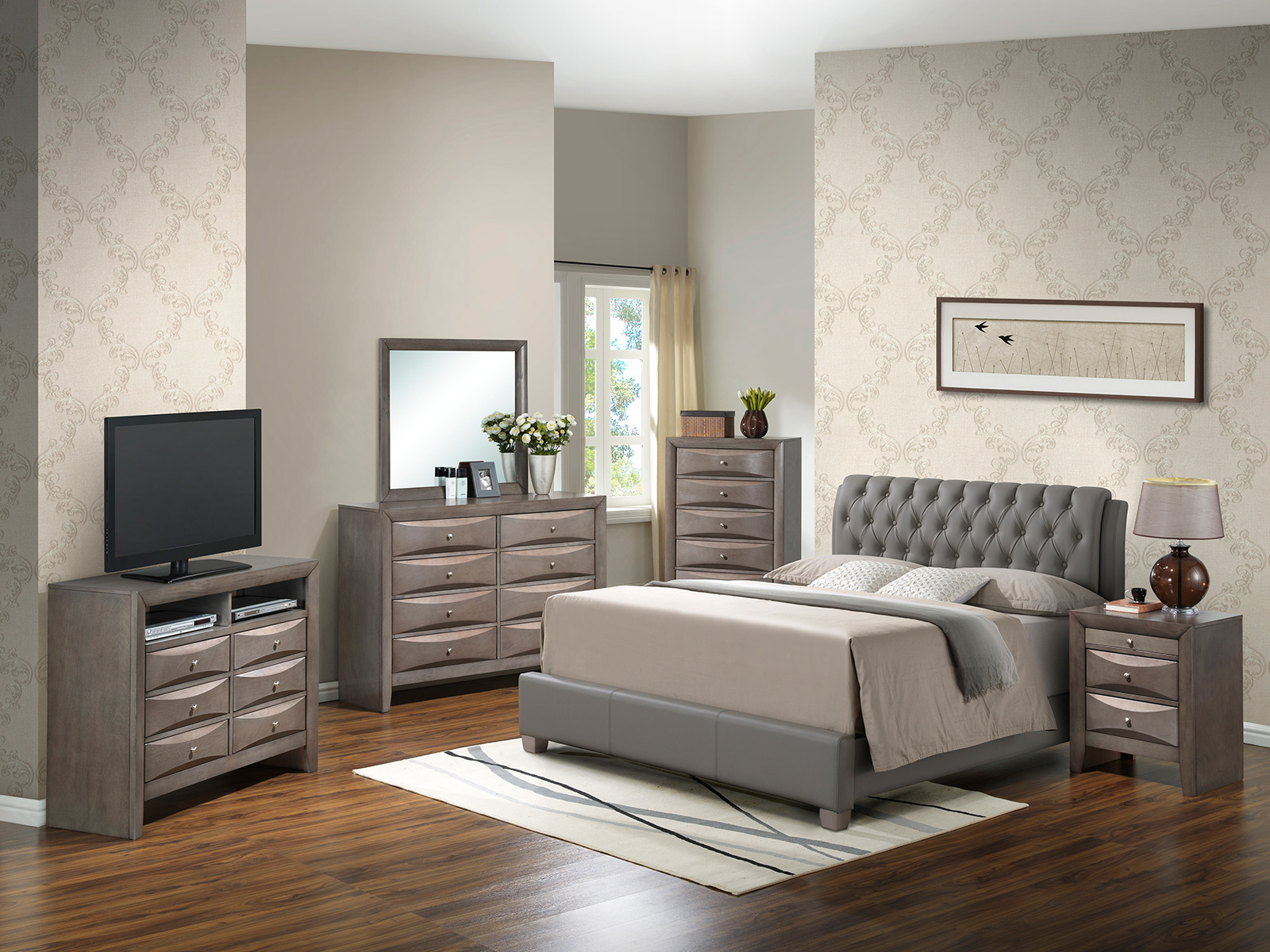 Glory Glory Furniture G1505C Bedroom Set In Gray