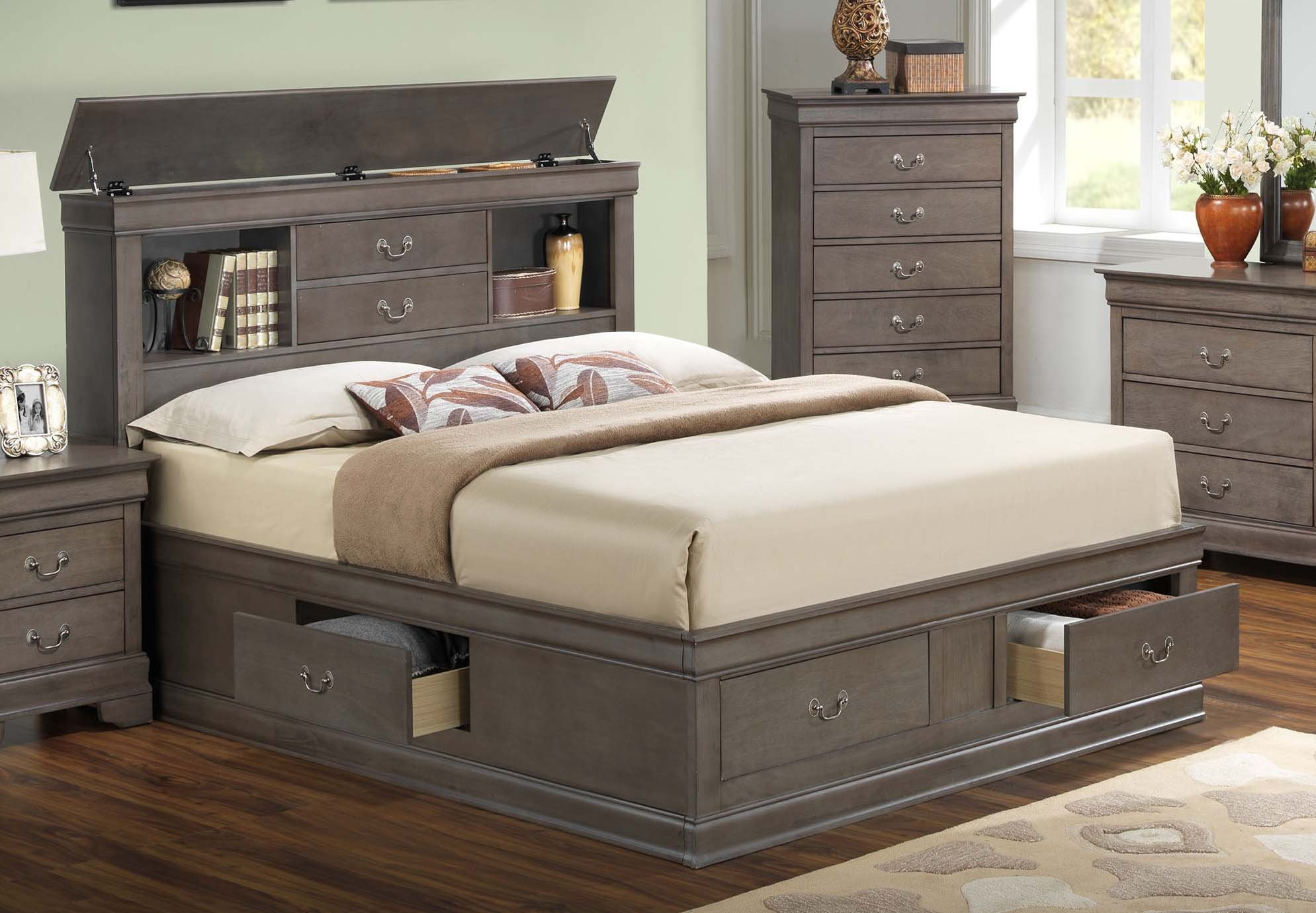 Glory Glory Furniture G3105 Queen Storage Bed In Grey