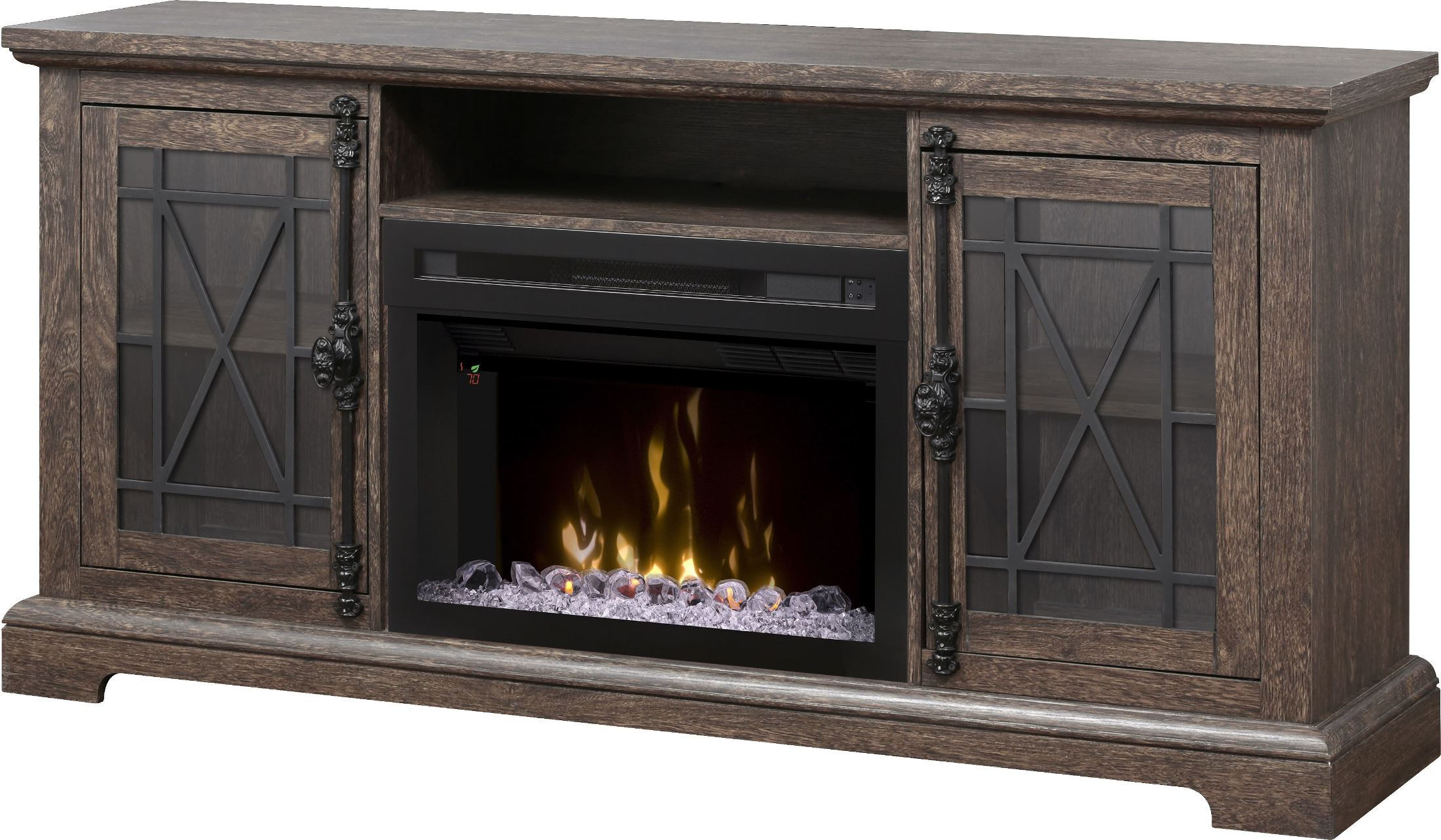 Natalie elm brown media console electric fireplace with - Going to bed with embers in fireplace ...