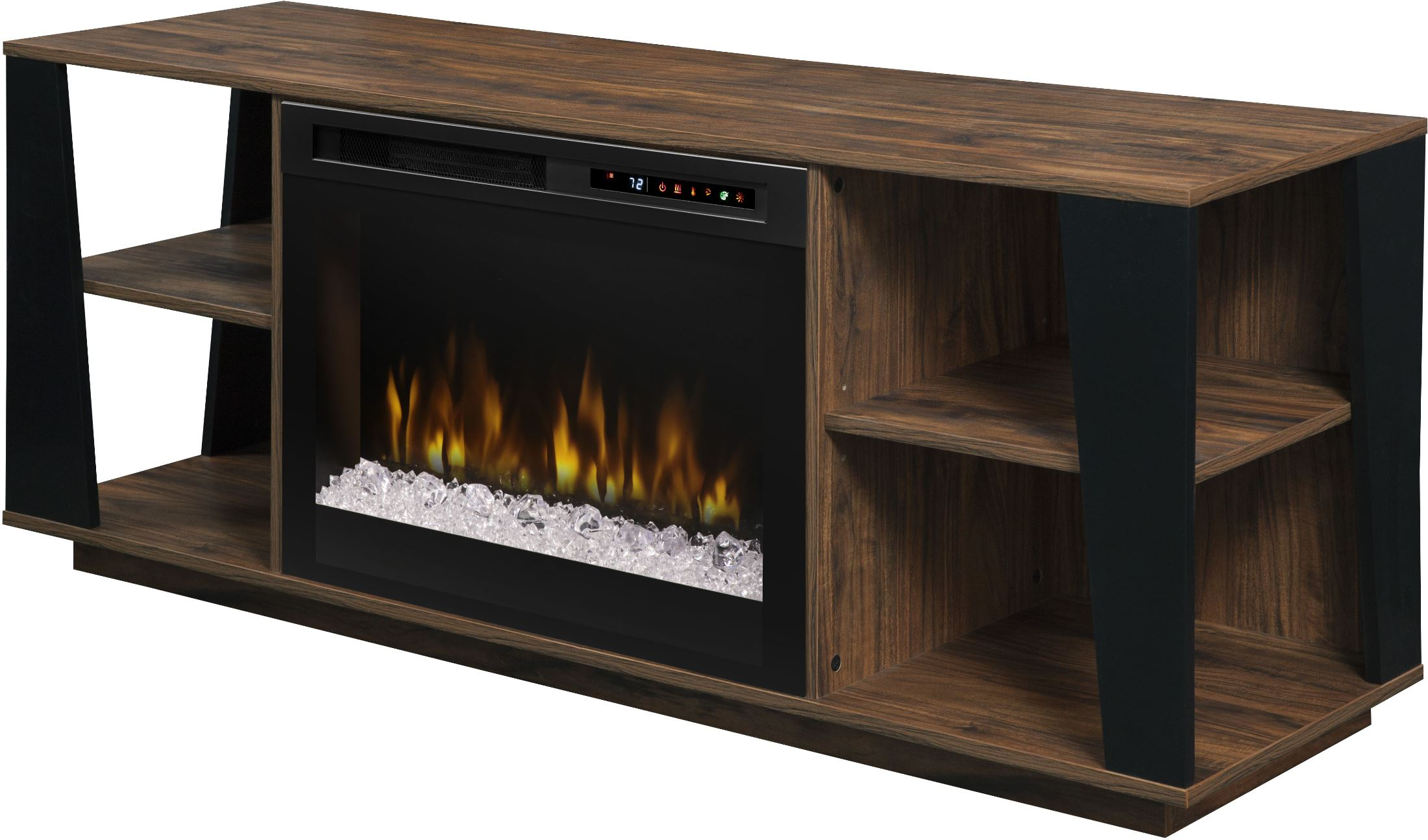 Dimplex arlo walnut media console electric fireplace with - Going to bed with embers in fireplace ...