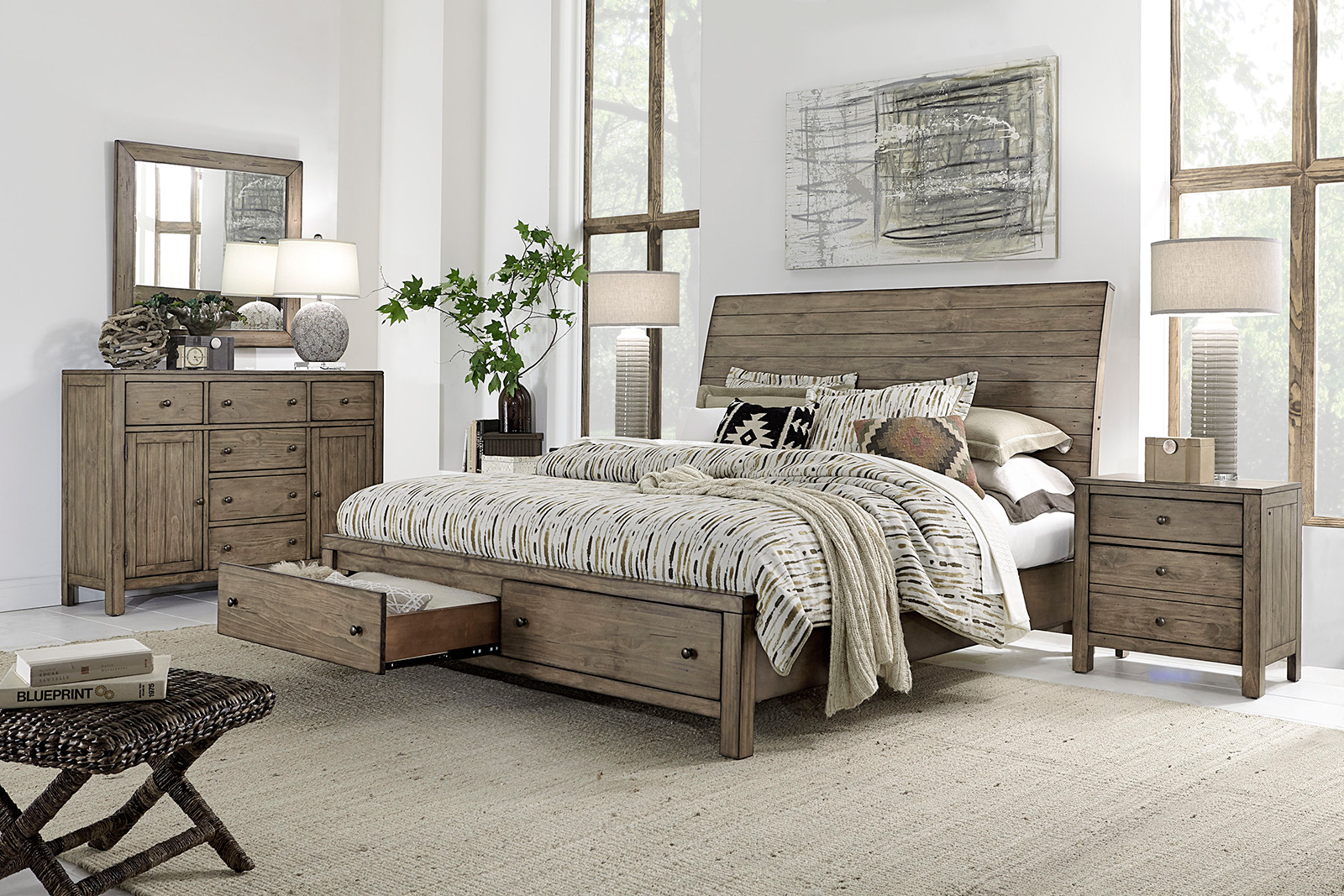 Aspenhome Aspenhome Tildon Sleigh Storage Bedroom Set in Mink I56 ...