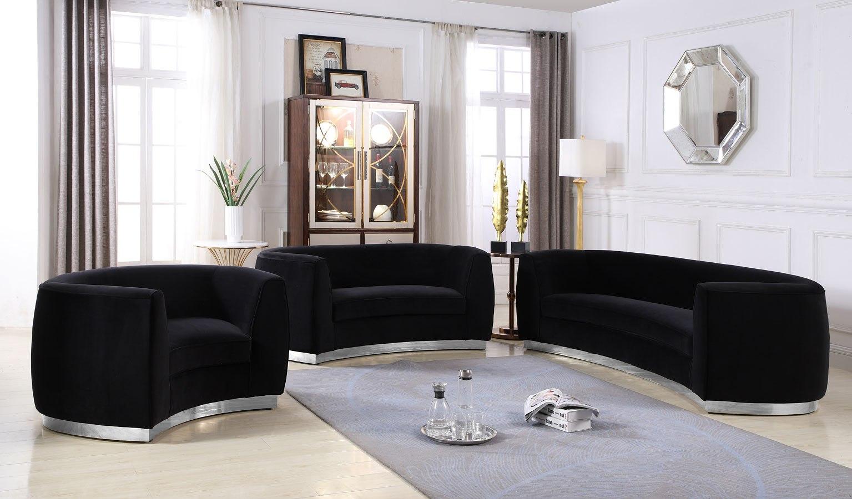 Julian Living Room Set Black Gold, Black Living Room Set