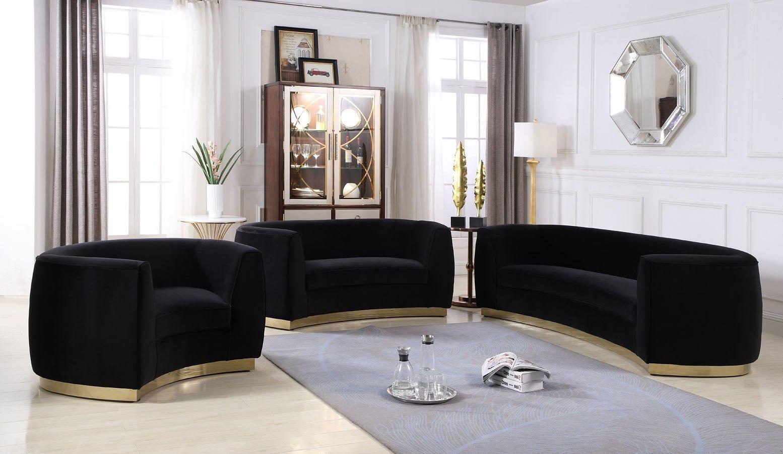 Julian Living Room Set (Black/ Gold) by Meridian