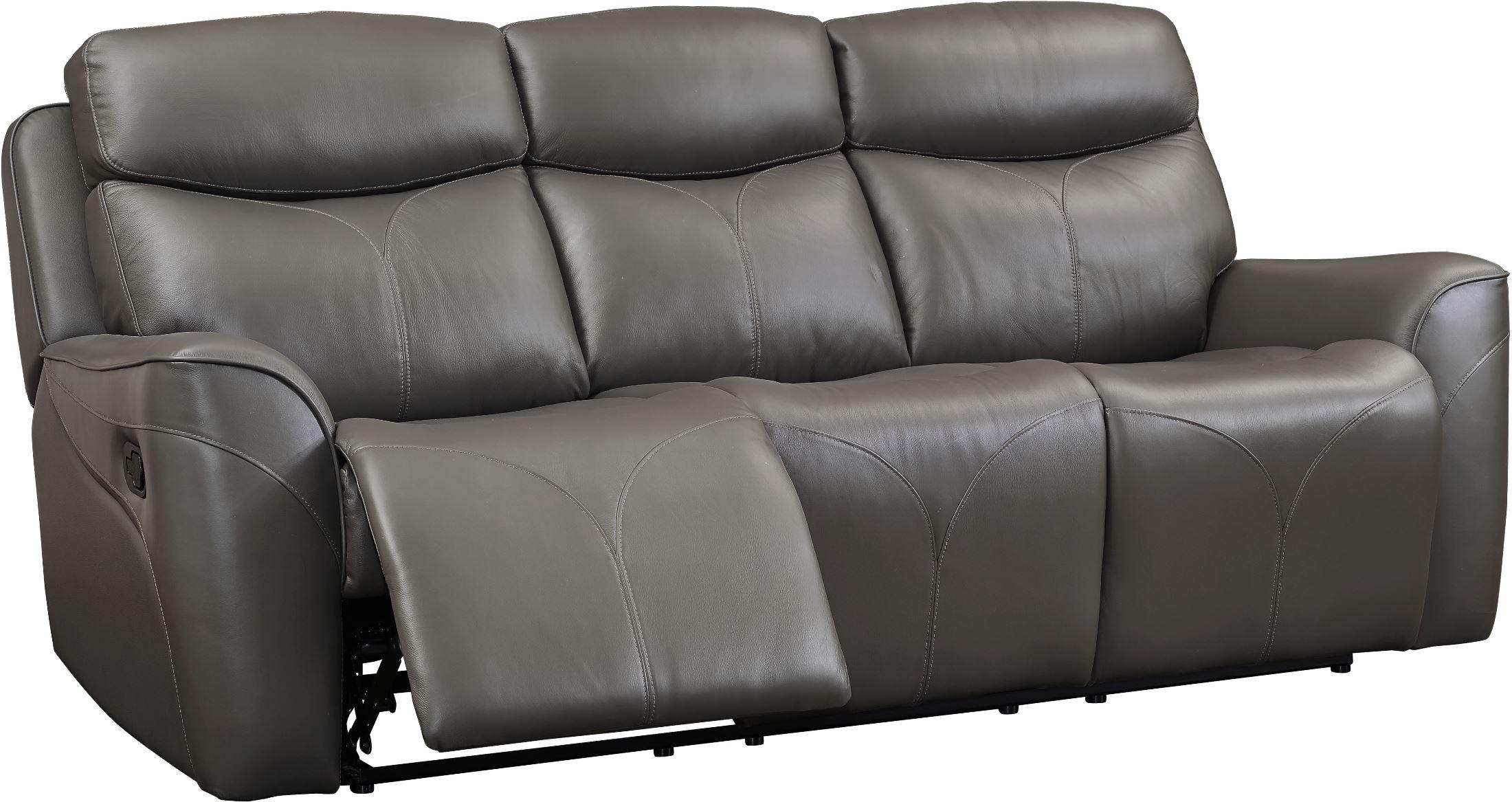 Roxbury Gray Leather Power Dual Reclining Sofa