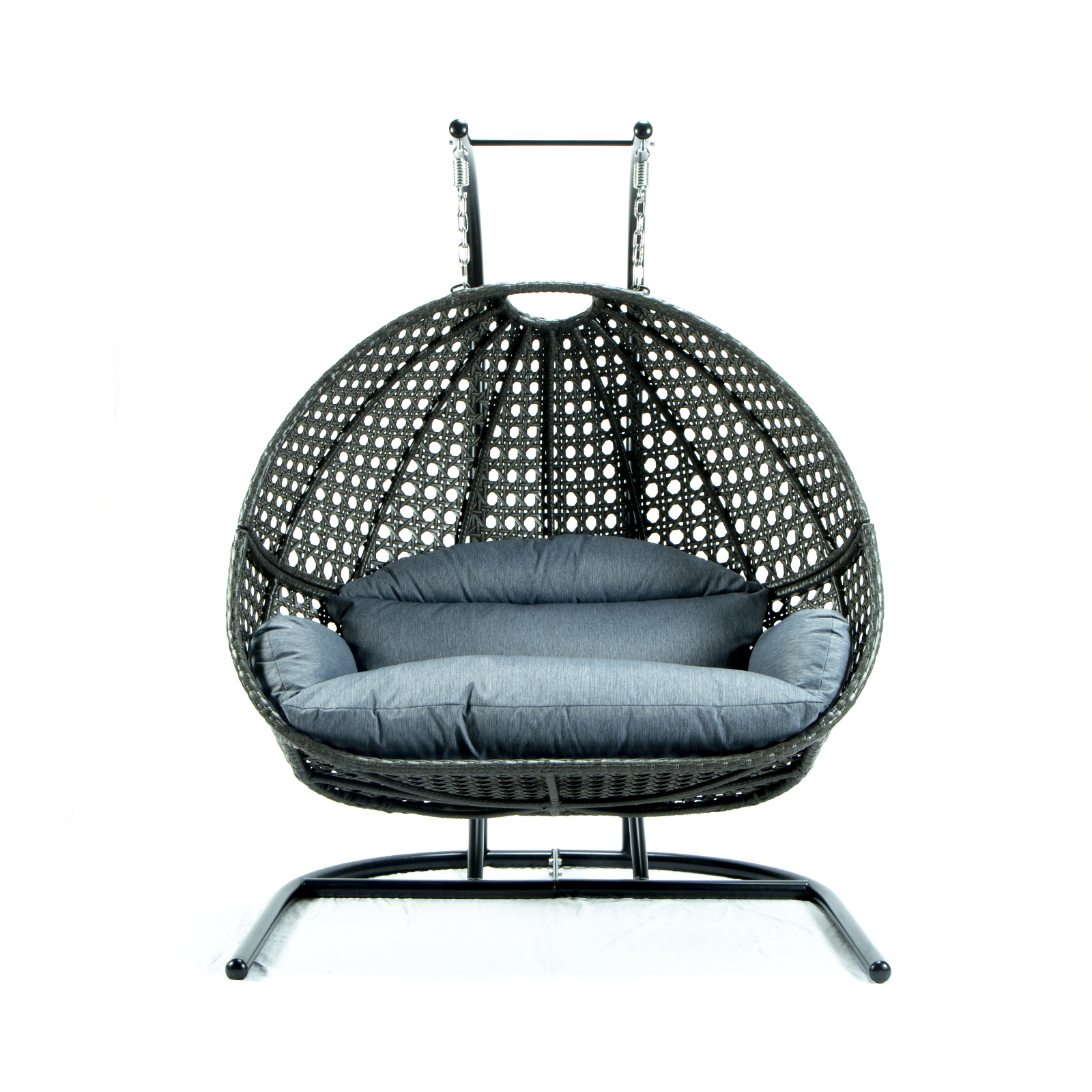 Leisuremod Wicker Hanging Double Egg Charcoal Blue Swing Chair 1stopbedrooms