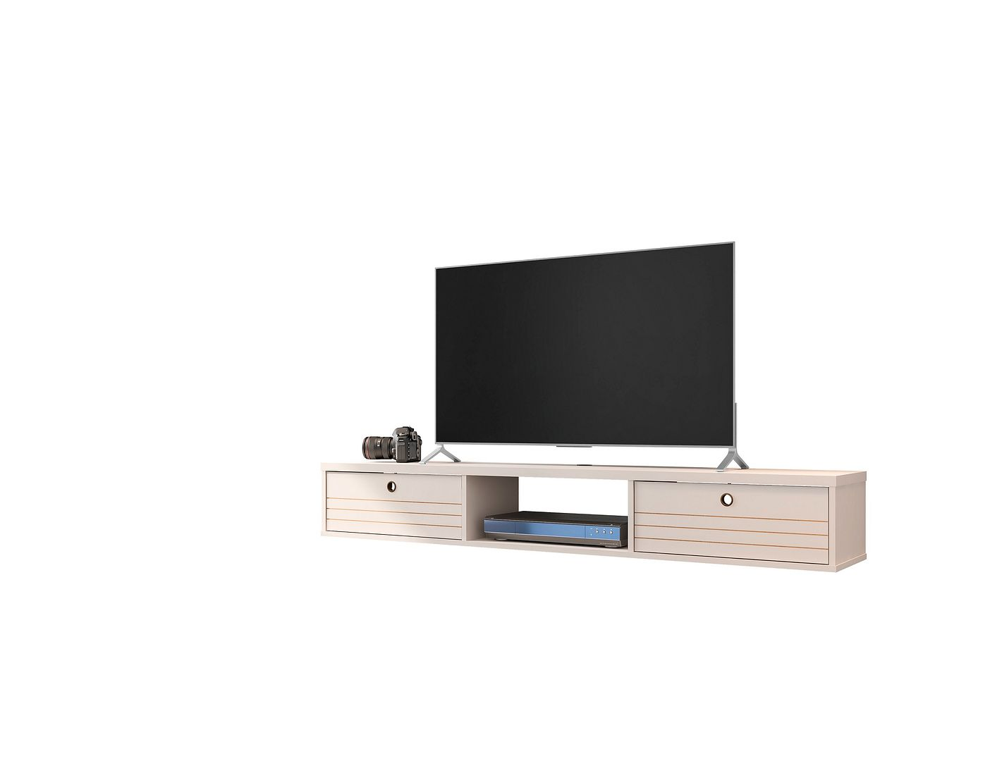 liberty 62 99 mid century modern floating entertainment center with 3 shelves in off white