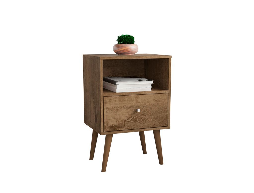 Liberty Mid Century Modern Nightstand 1 0 With 1 Cubby Space And 1 Drawer In Rustic Brown 1stopbedrooms