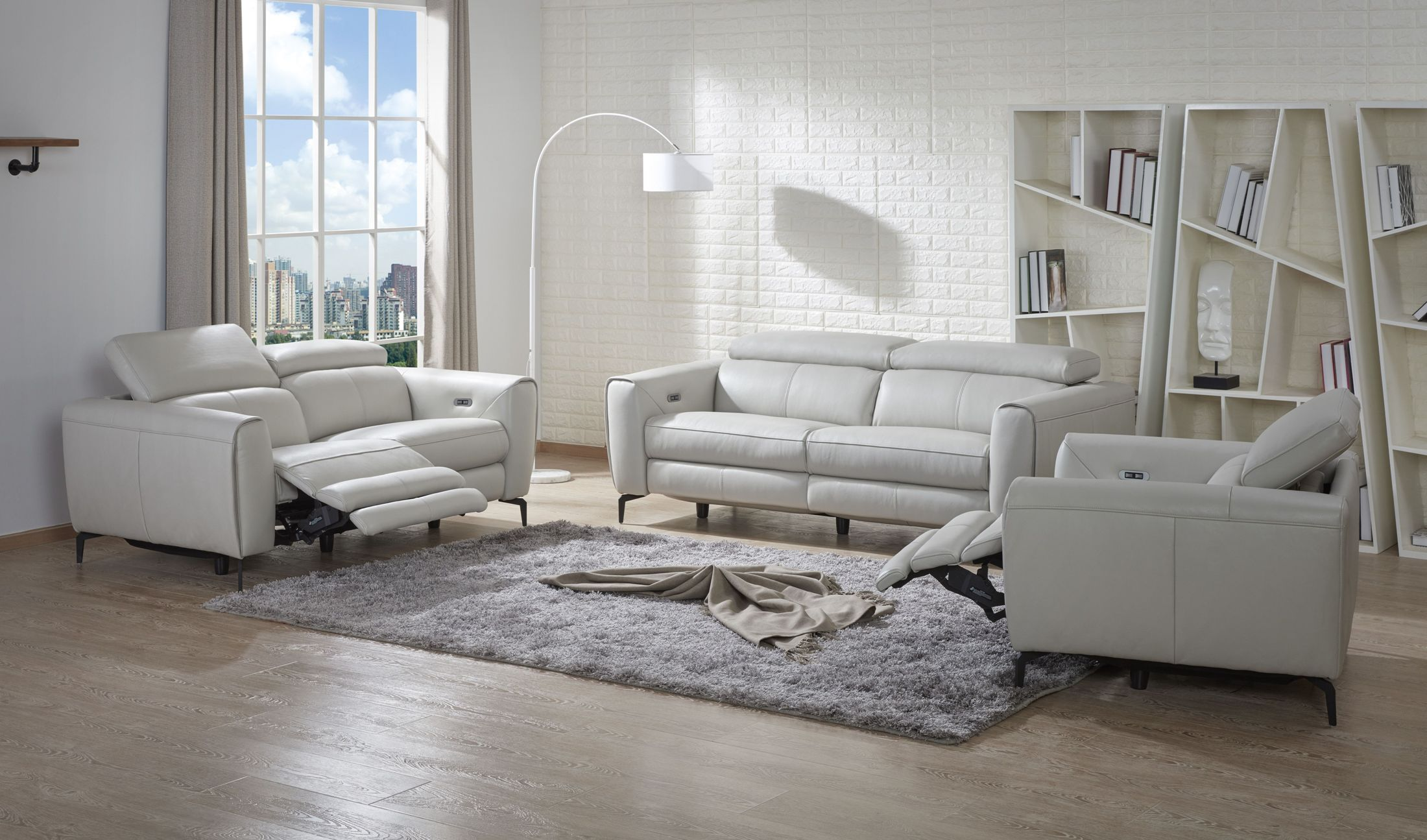 Fabulous Lorenzo Light Grey Leather Reclining Living Room Set Bralicious Painted Fabric Chair Ideas Braliciousco