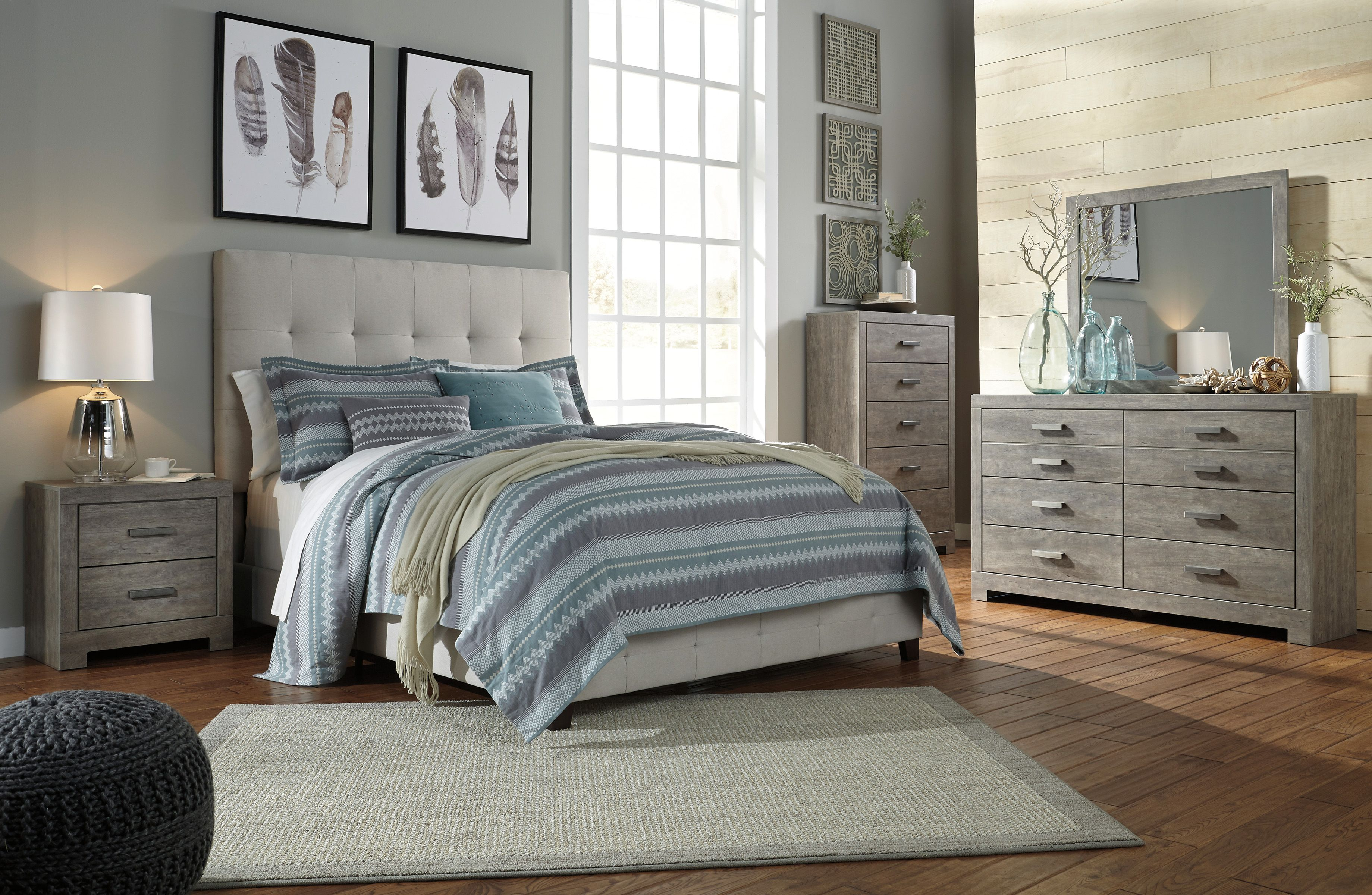 signature designashley contemporary beige upholstered panel bedroom set - contemporary