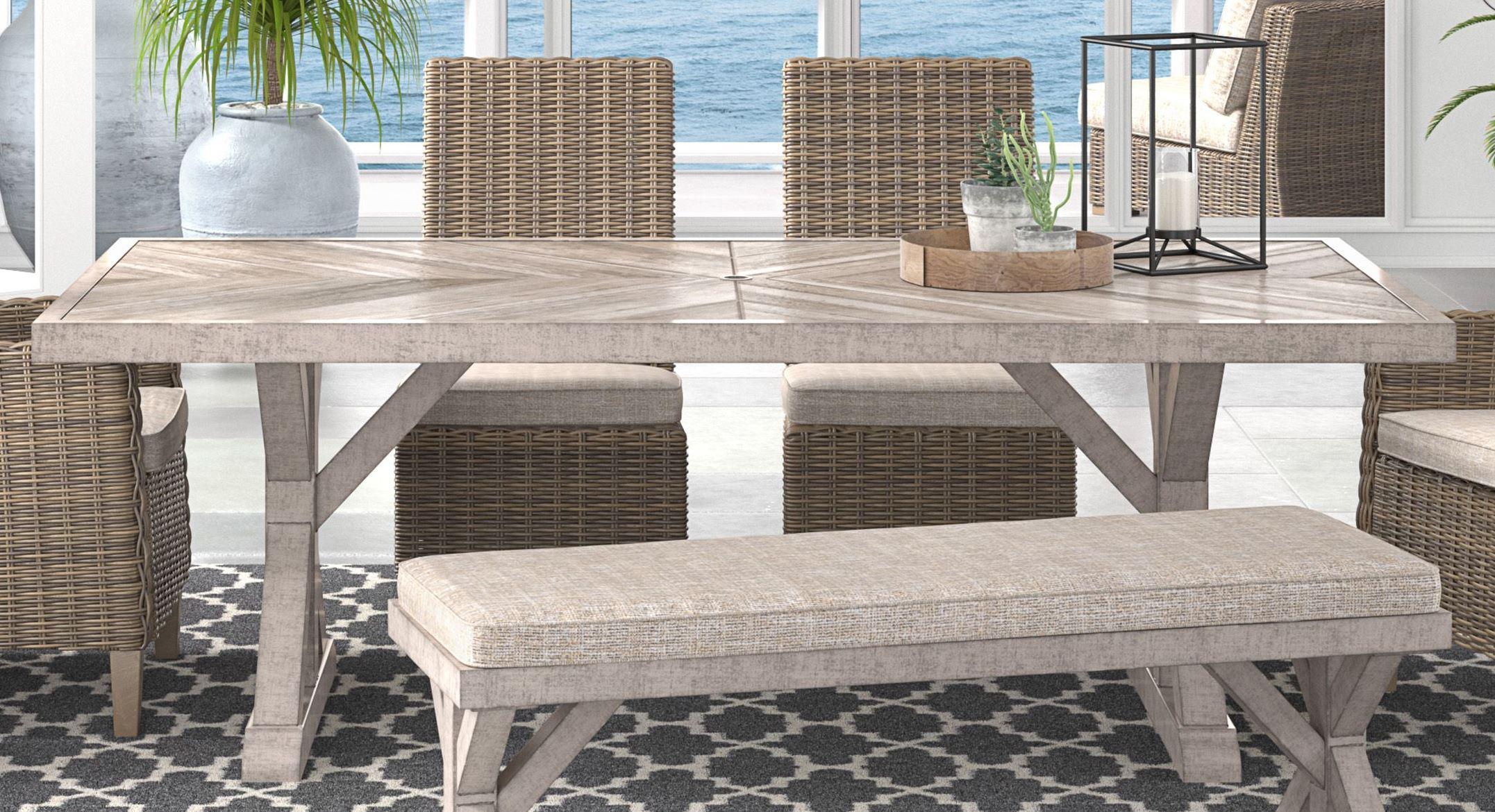Signature Design by Ashley Beachcroft Beige Rectangular ... on Beachcroft Beige Outdoor Living Room Set id=54318