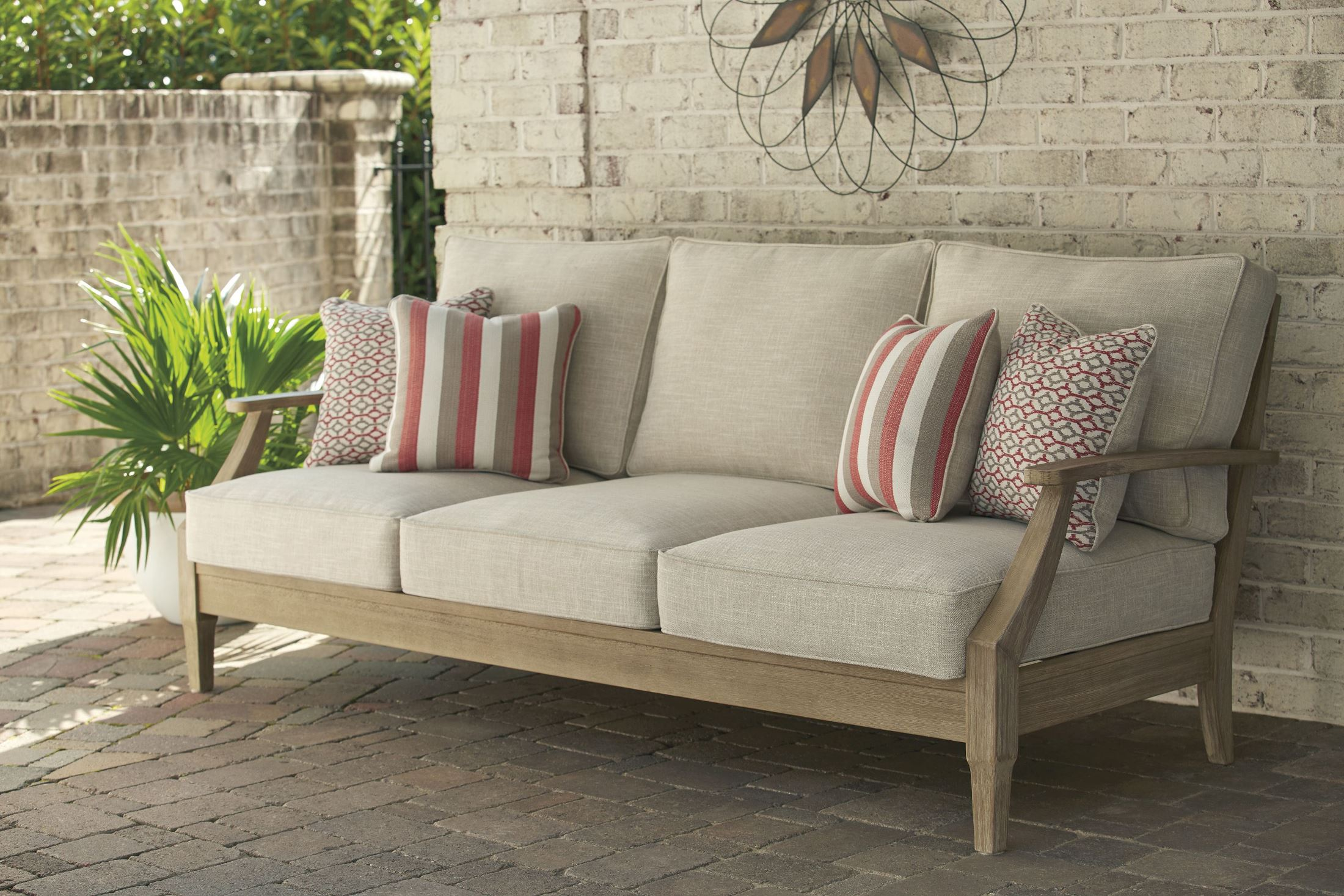 Signature Design by Ashley Clare View Beige Outdoor Sofa ... on Clare View Beige Outdoor Living Room id=31760