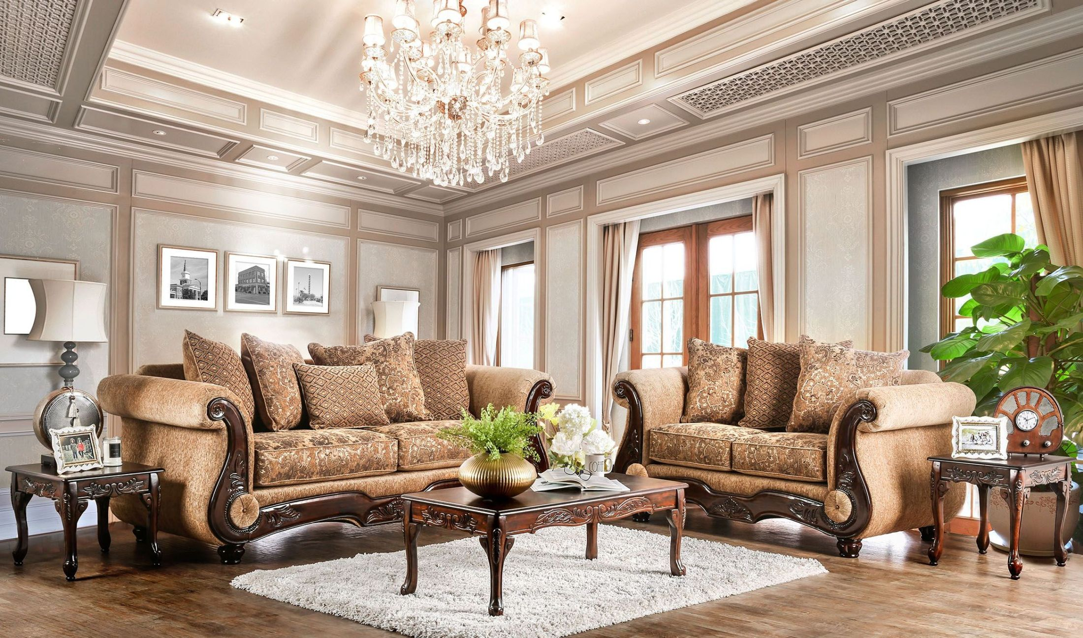 Nicanor Tan and Gold Living Room Set