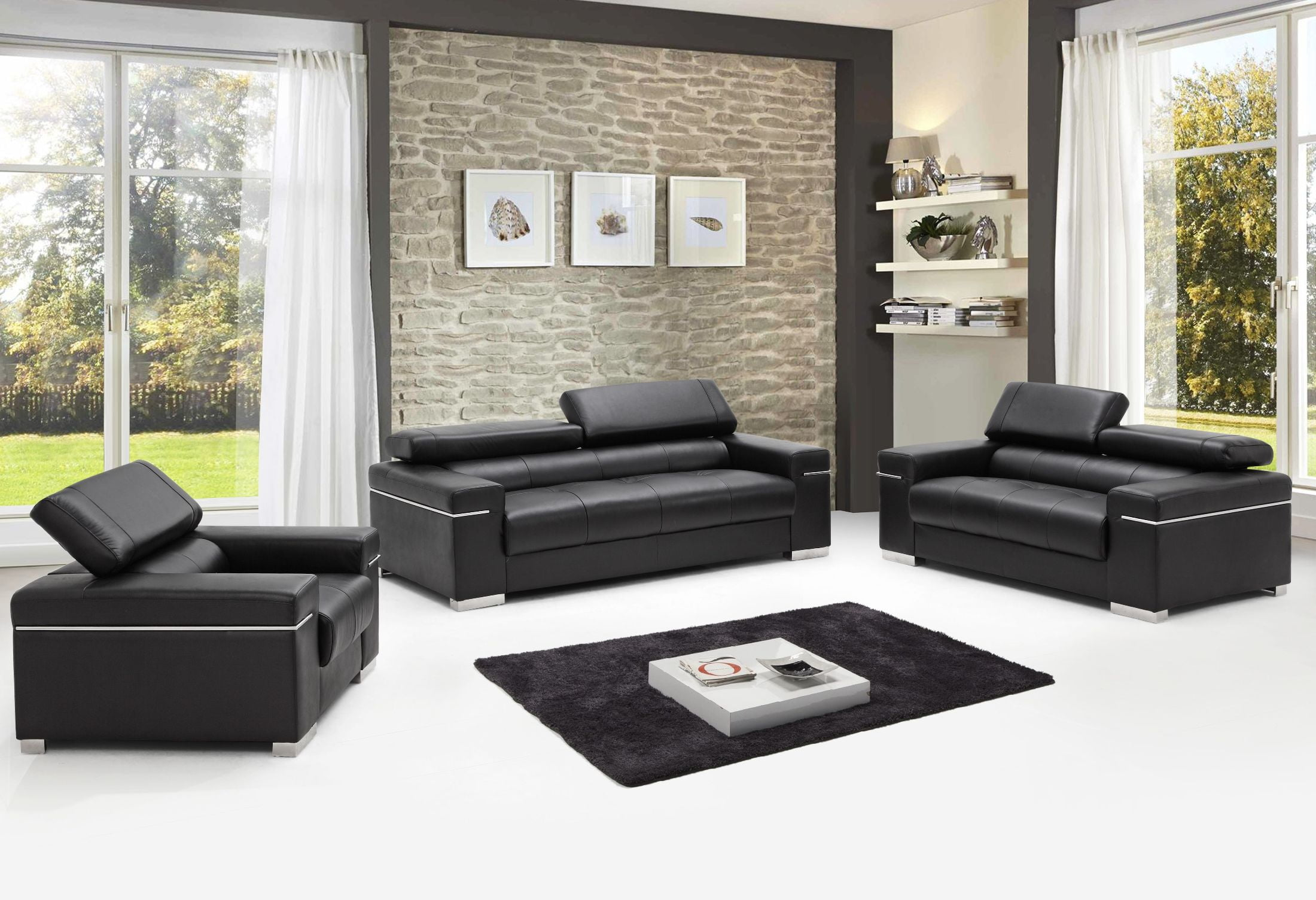 Soho Black Leather Living Room Set