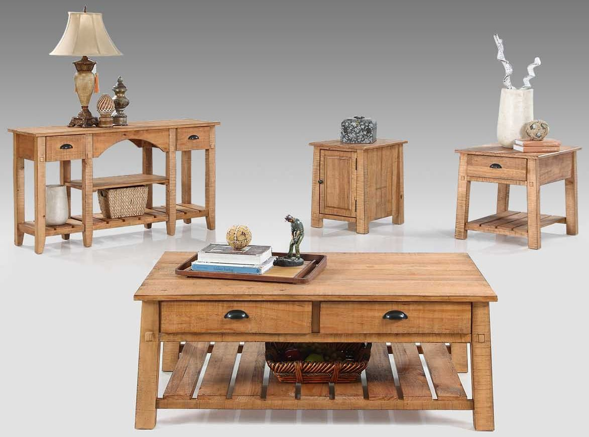 Willow Distressed Pine Occasional Table Set 1stopbedrooms