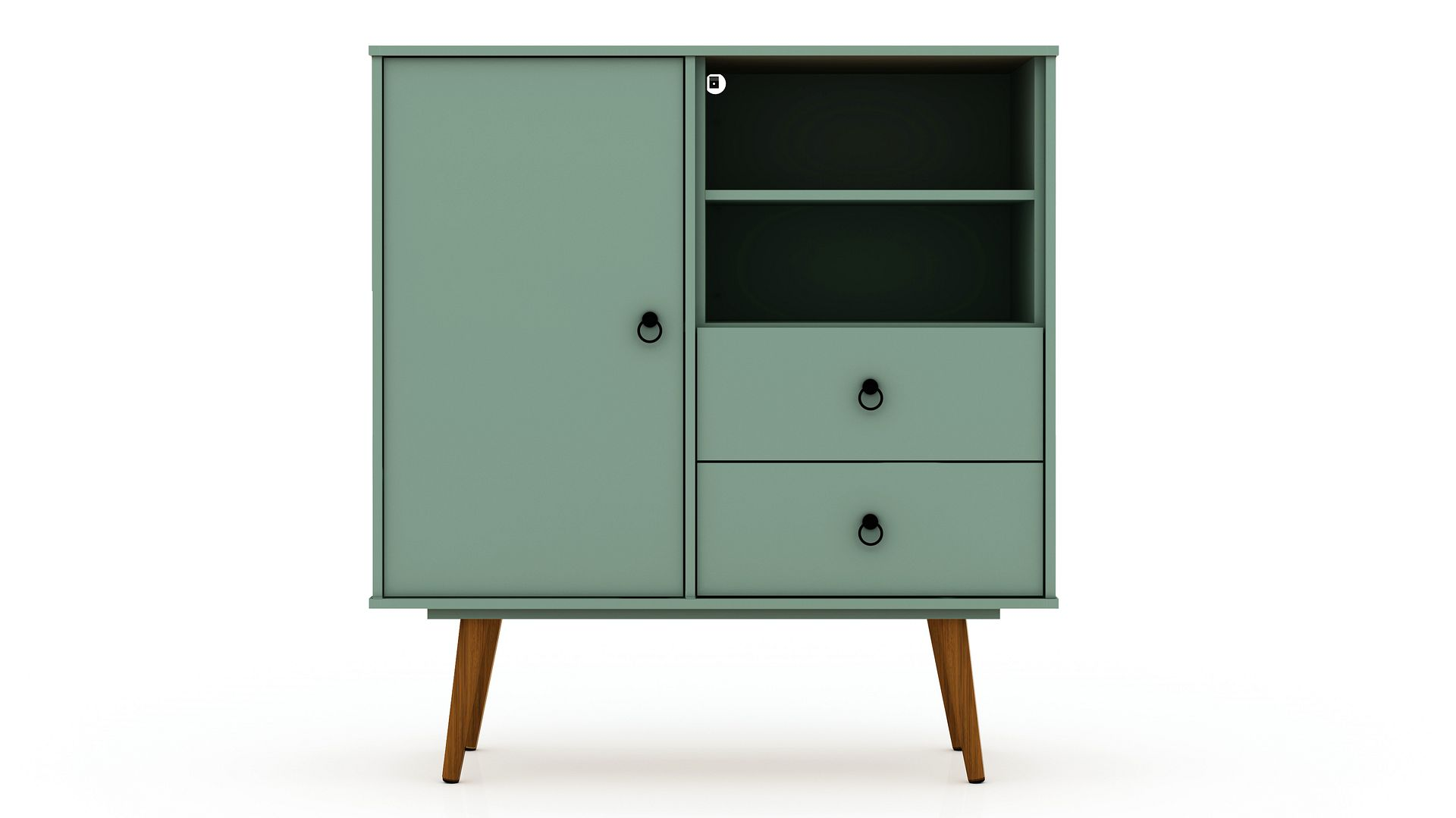 Tribeca Mid Century Modern Dresser With 2 Drawers In Off White And Green Mint 1stopbedrooms
