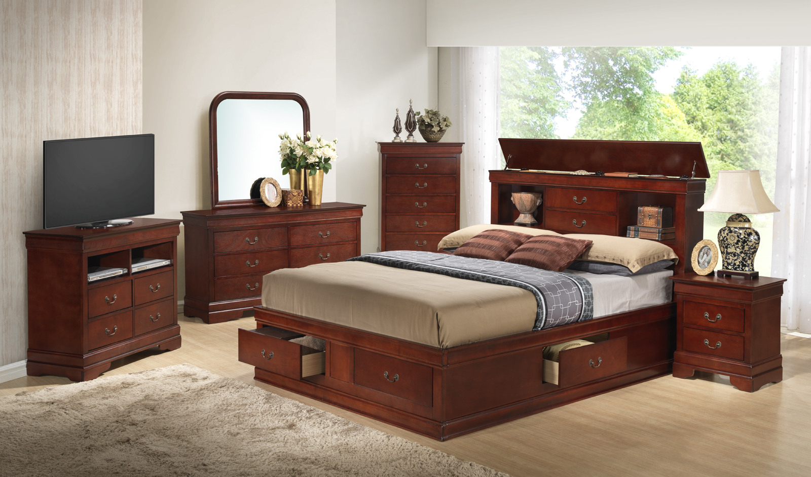 Glory Furniture G3100 Storage Bedroom Set In Cherry 1stopbedrooms