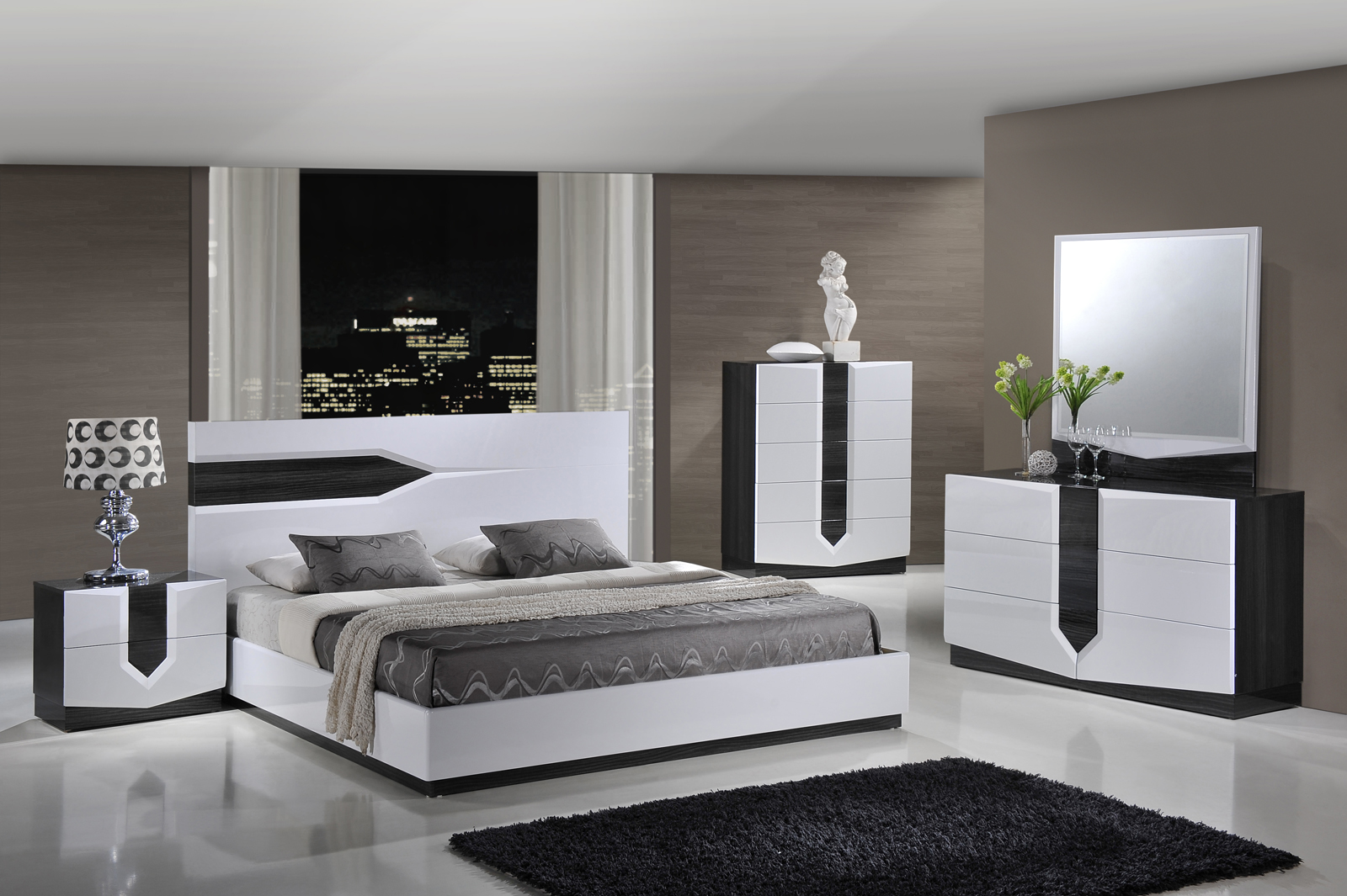 Global Furniture Hudson Platform Bedroom Set in Zebra Grey/ White