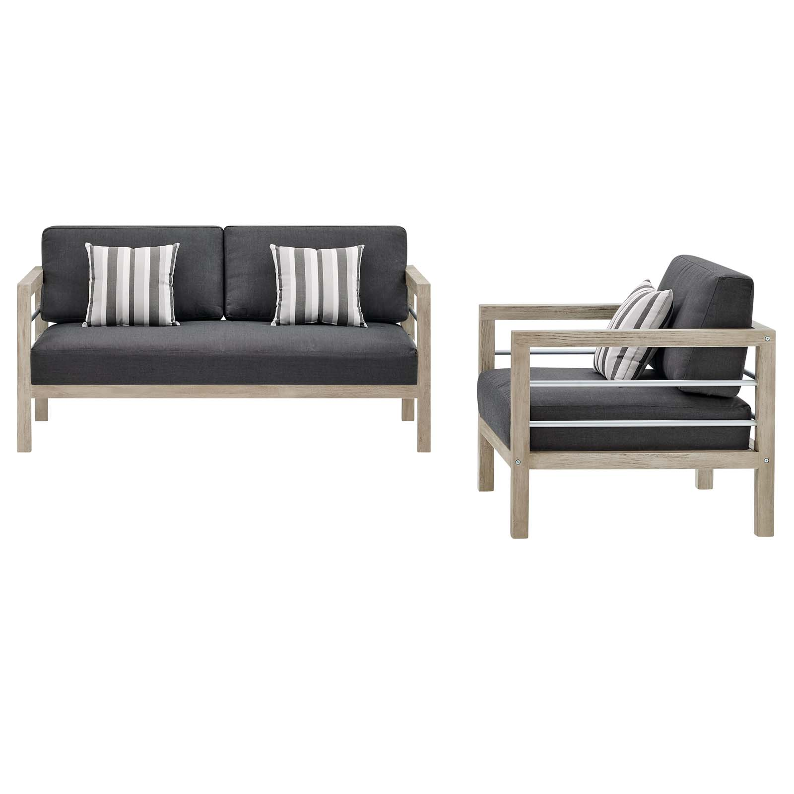 Picture of: Wiscasset Light Gray Outdoor Patio Acacia Wood Loveseat And Arm Chair Set Eei 3763 Lgr Ste Set 1stopbedrooms