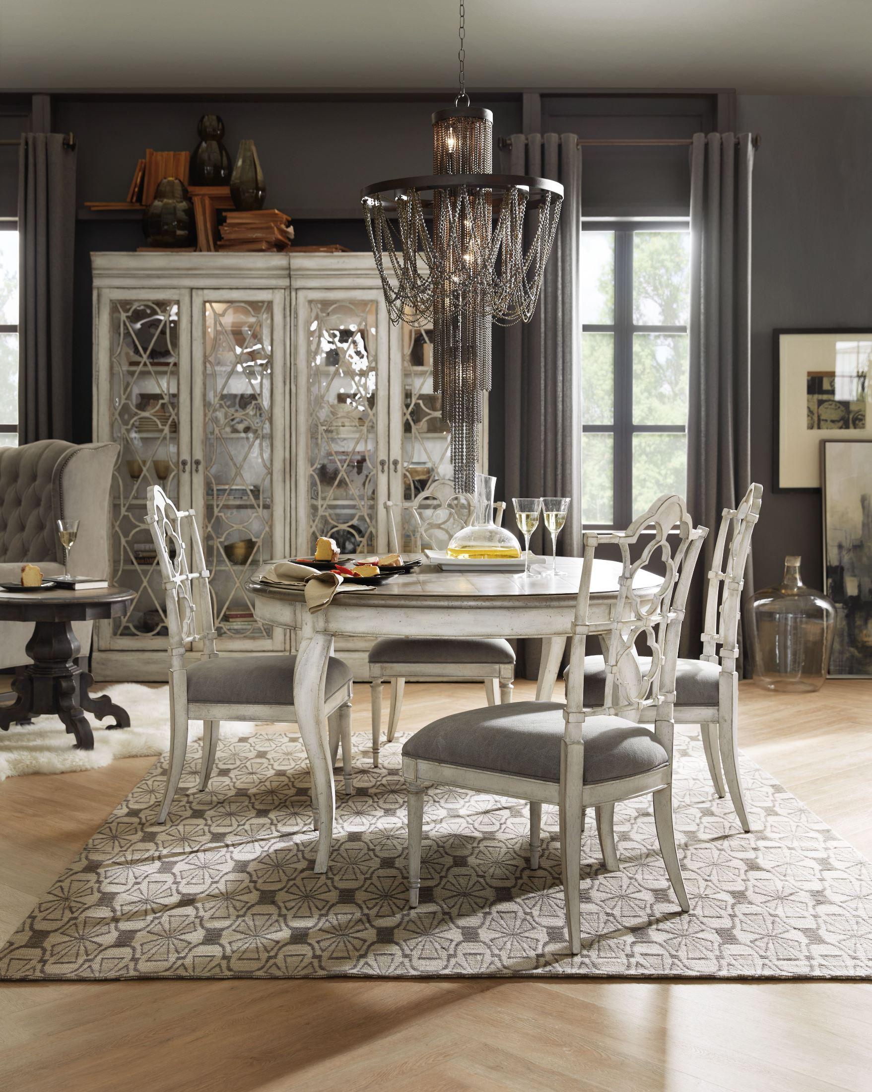 Arabella White 48 Round Extendable Leg Dining Room Set